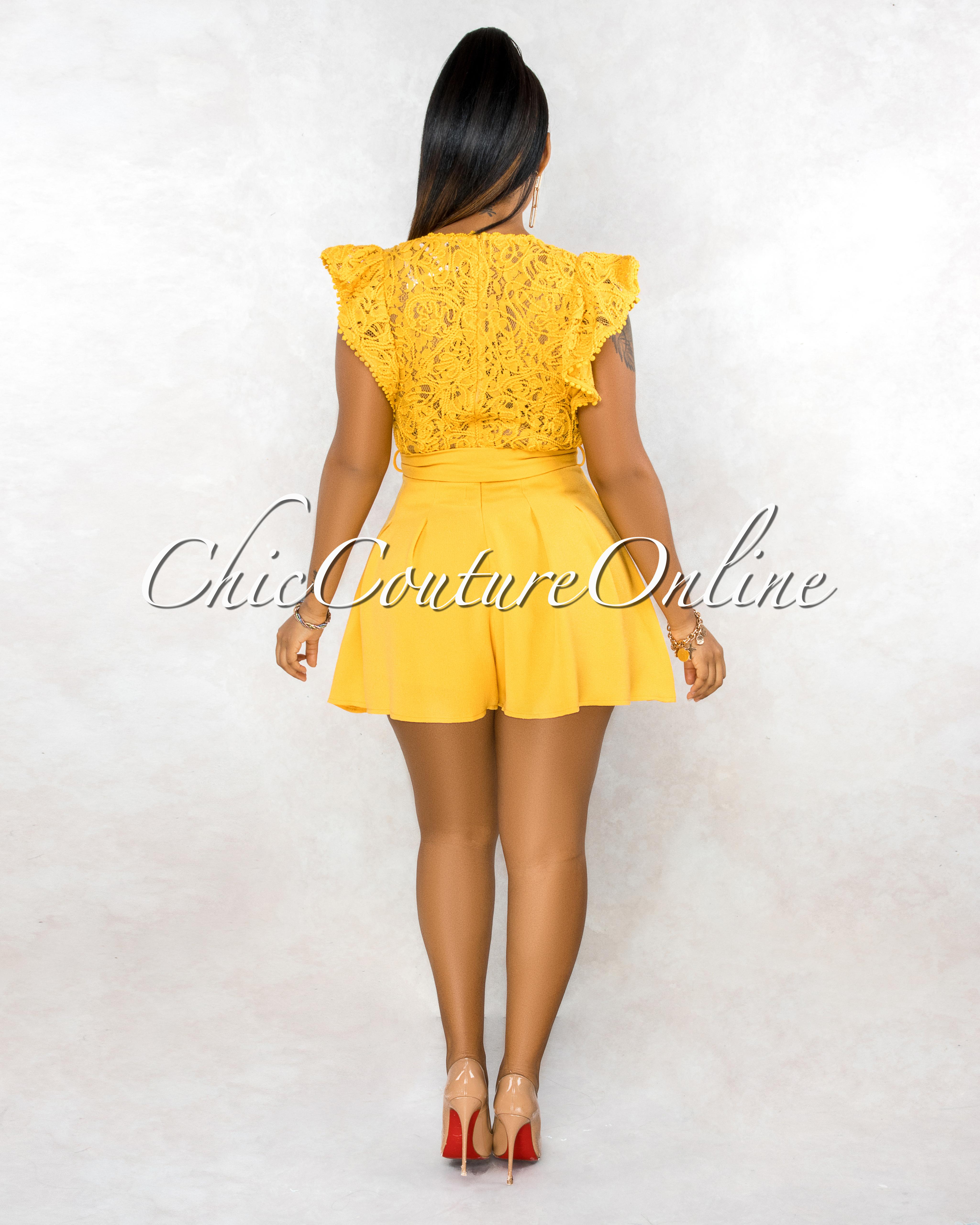 Sebastiana Mustard Yellow Embroidery Top Flutter Romper