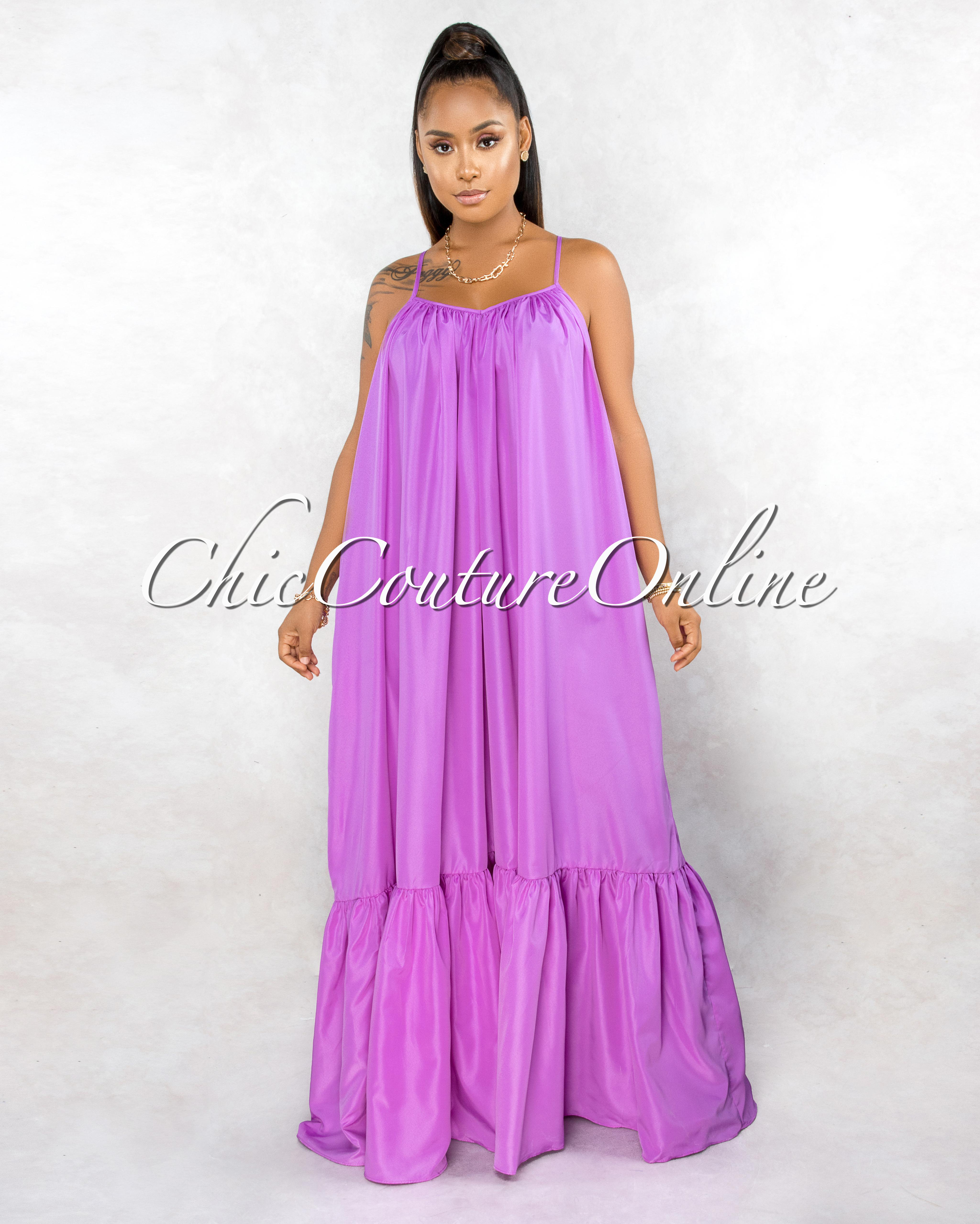 Naman Lavender Low Back Ruffle Hem Maxi Shirt CURVACEOUS Dress