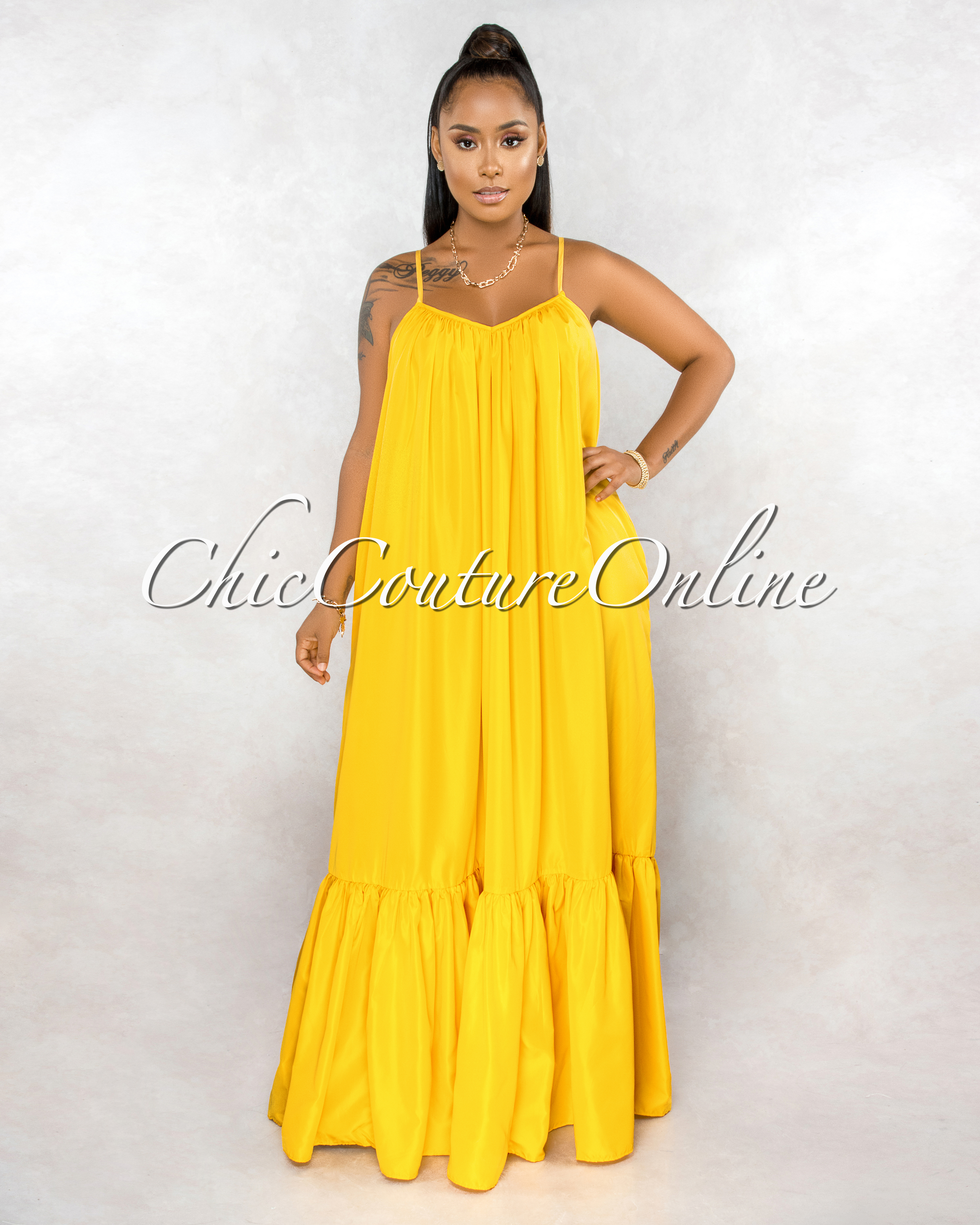 Naman Yellow Low Back Ruffle Hem Maxi Shirt Dress