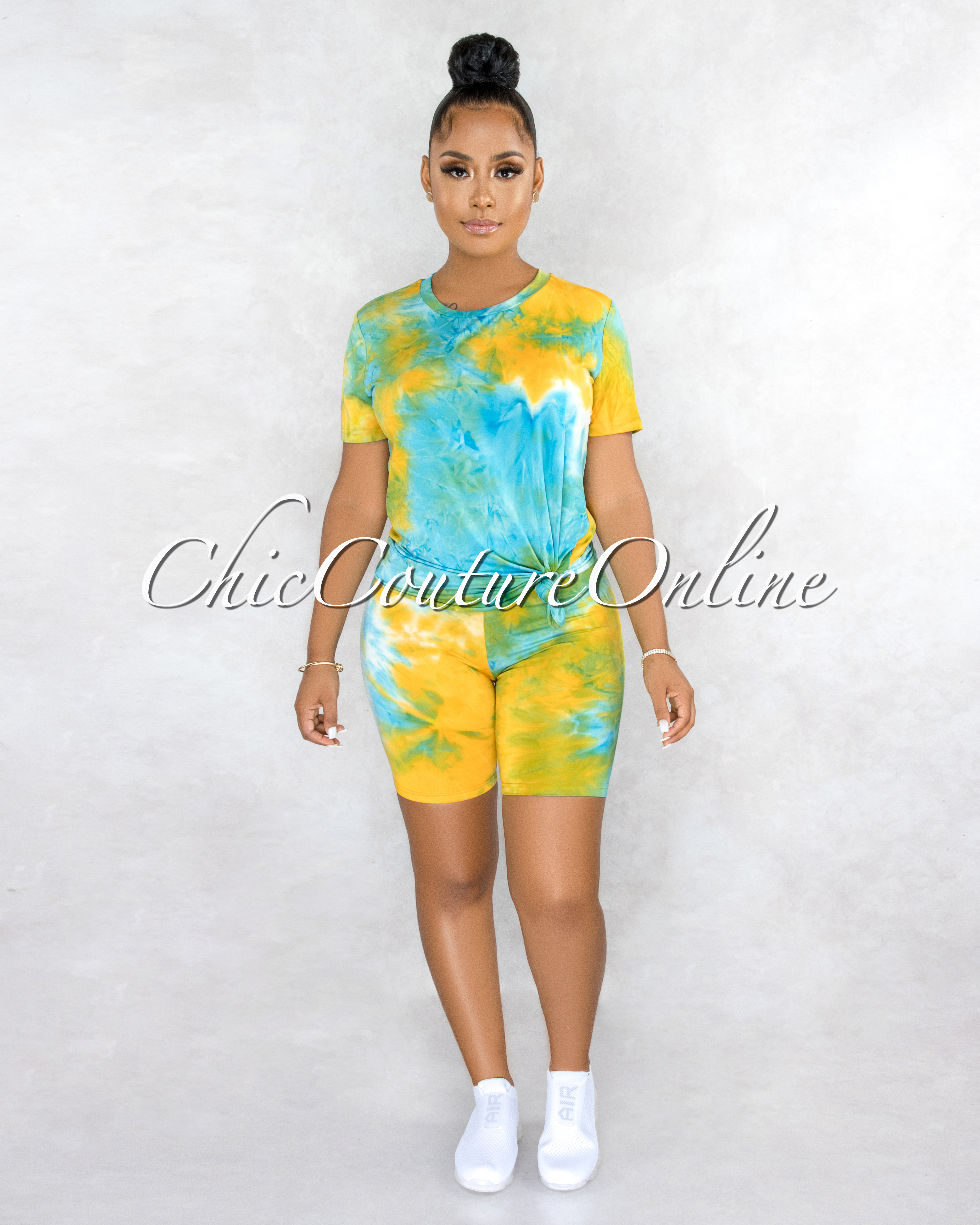 Omega Blue Green Yellow Tie-Dye Shorts Set