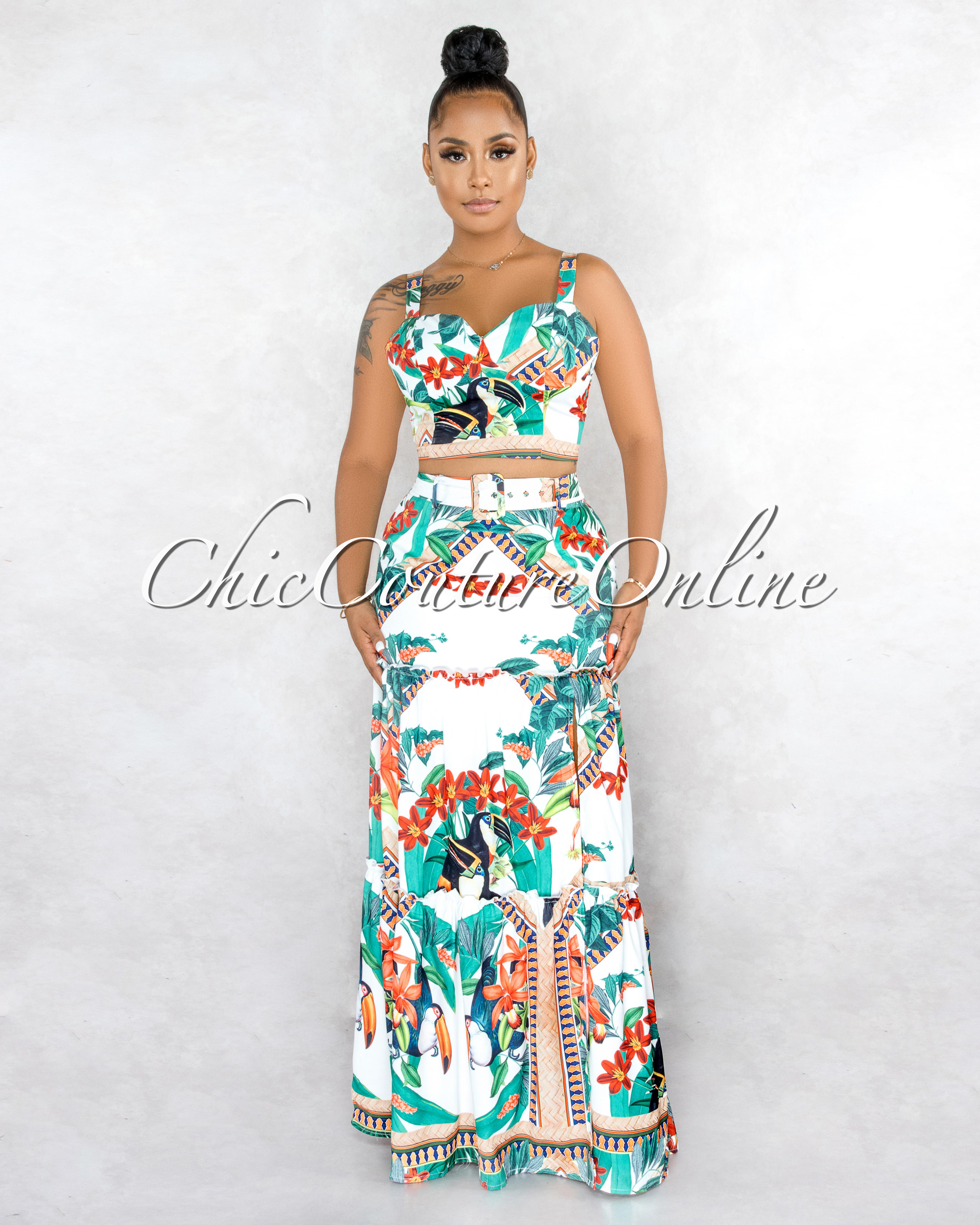 Tanzanna White Green Jungle Print Crop Top & Maxi Skirt Set