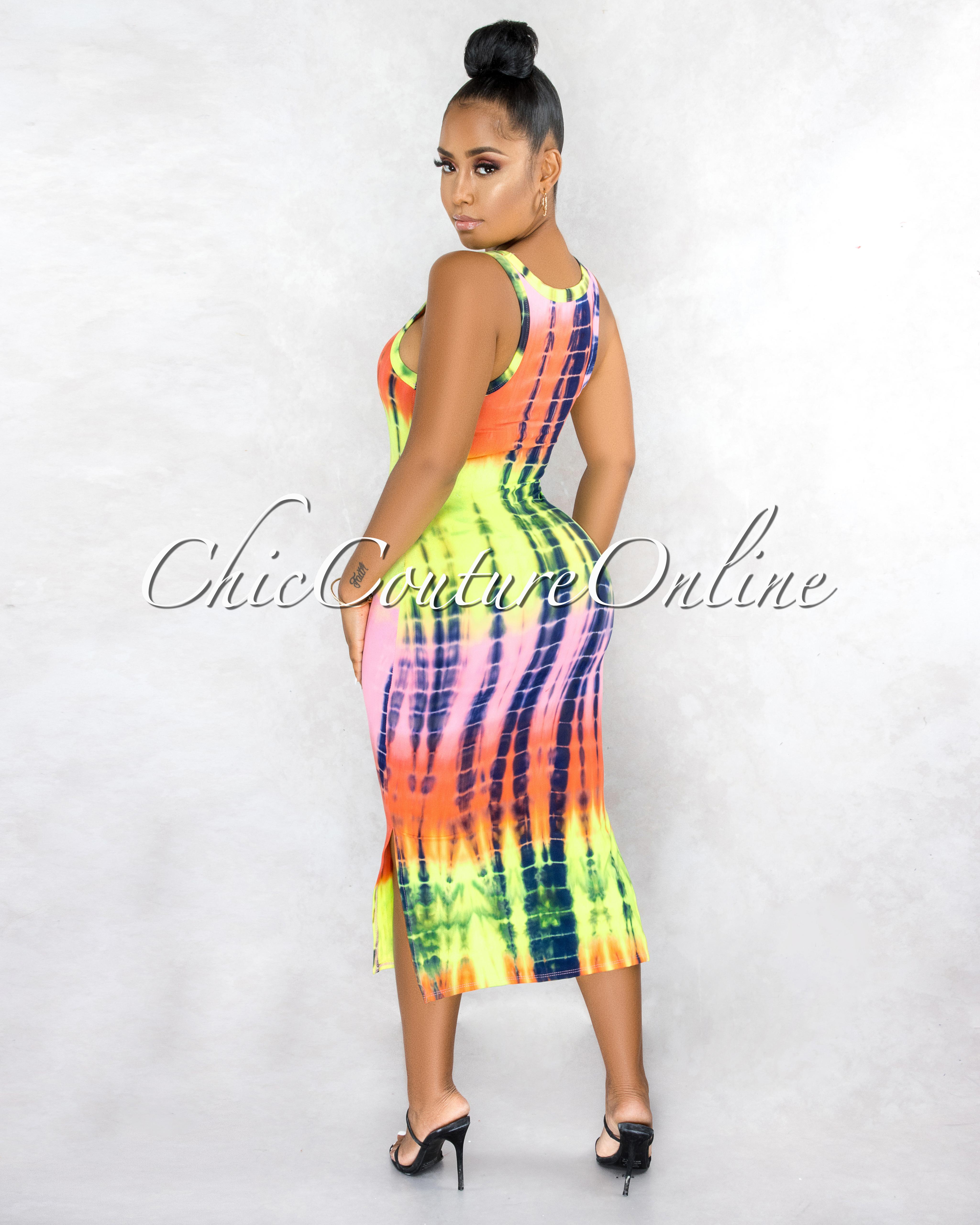 Kibou Neon Tones Tie-Dye Tank Midi Dress