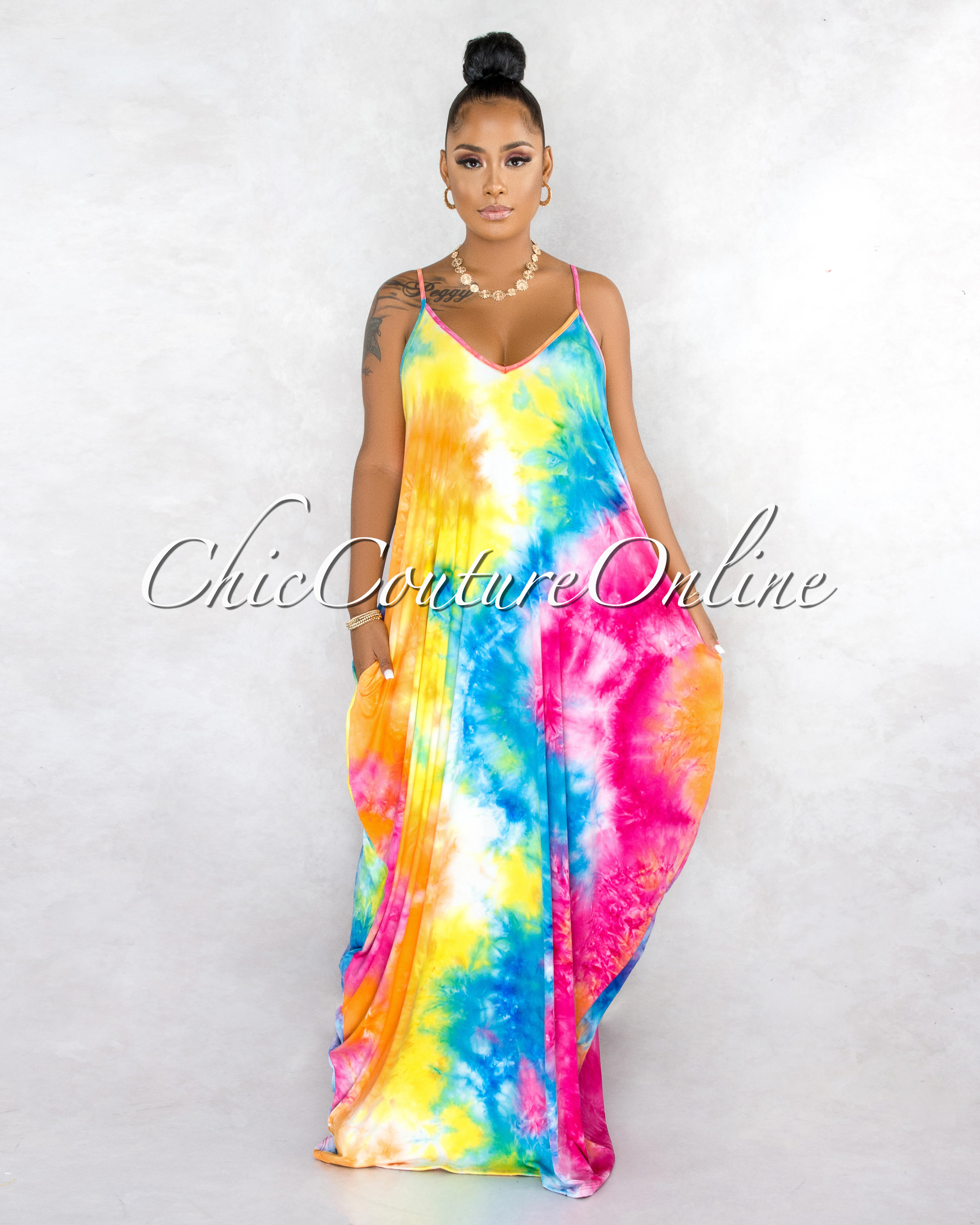 Blenda Rainbow Tie-Dye Print Maxi Shirt Dress