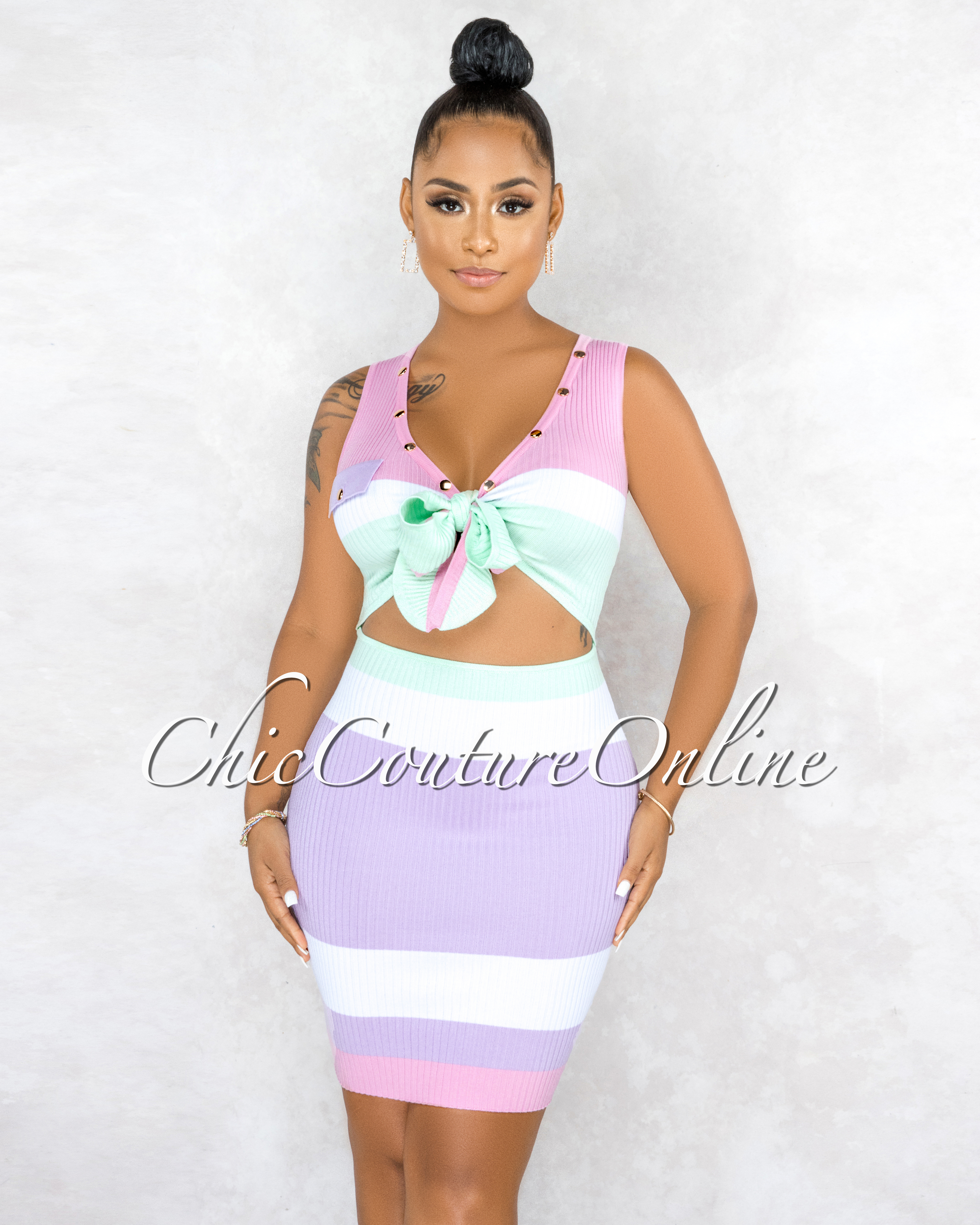 Darius Pastel Tones Front Cut-Out Gold Snaps Ribbed Dress