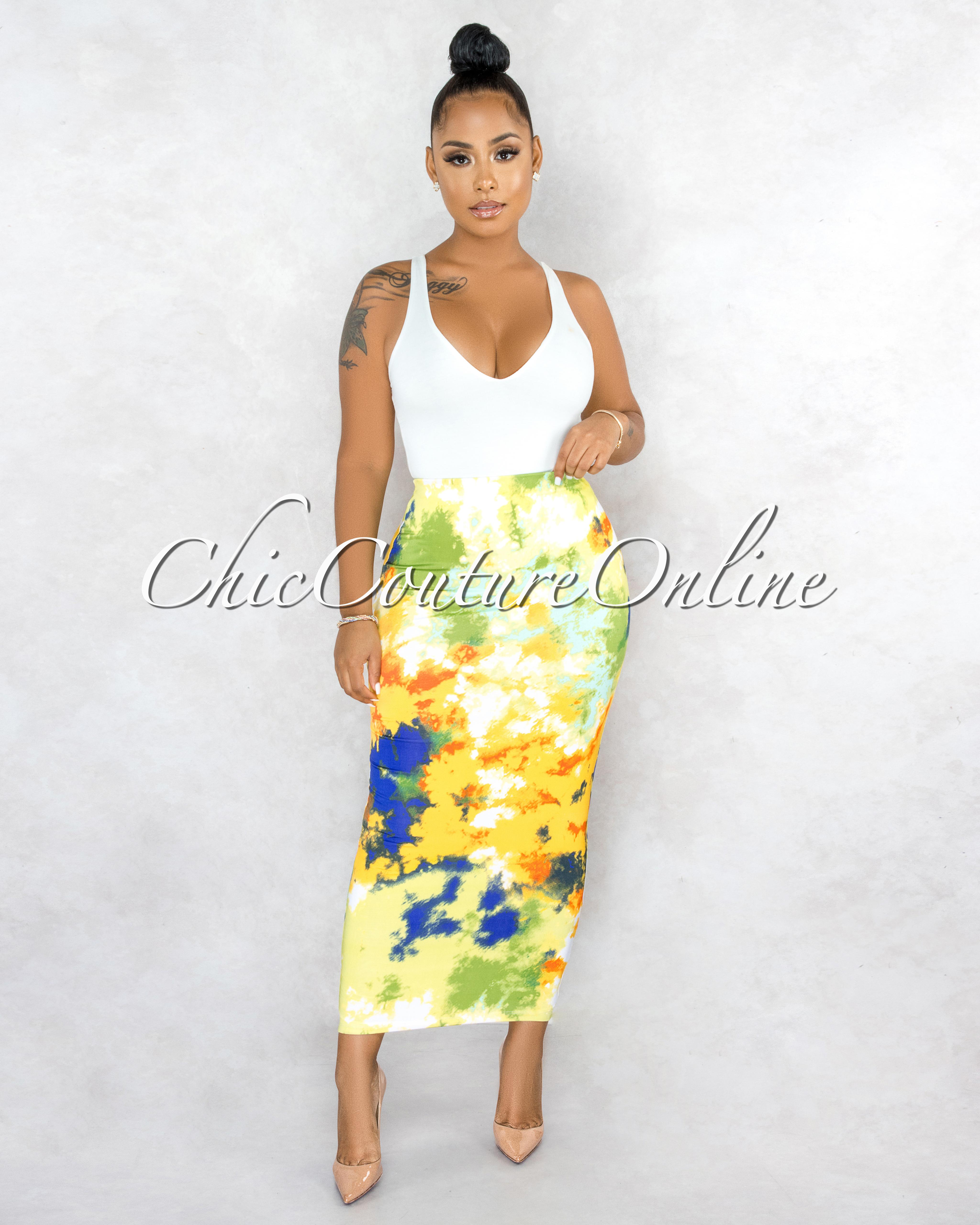 Perdita Yellow Green Print Maxi Body-Con Skirt