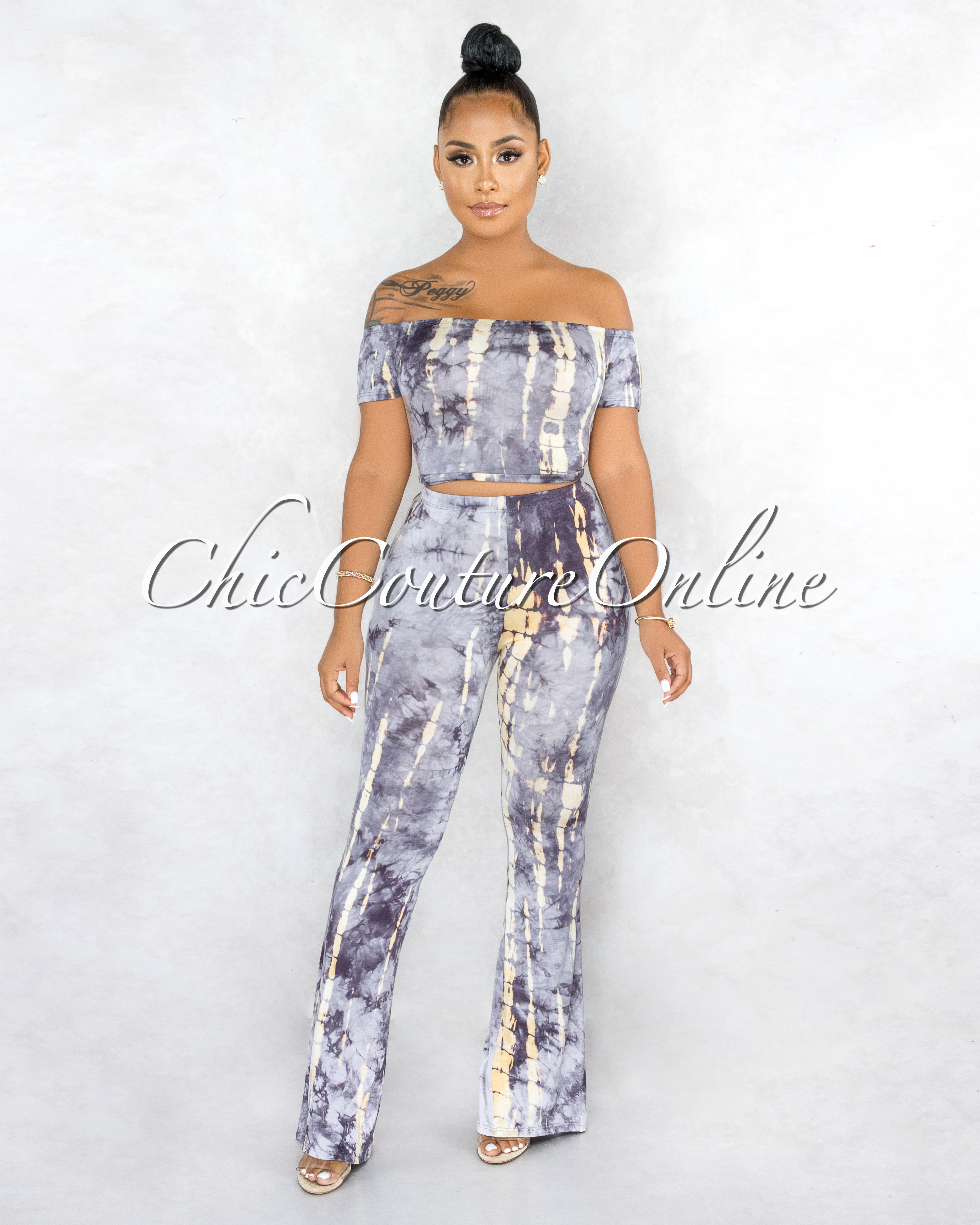 Tanuja Grey Cream Tie-Dye Two Piece Set