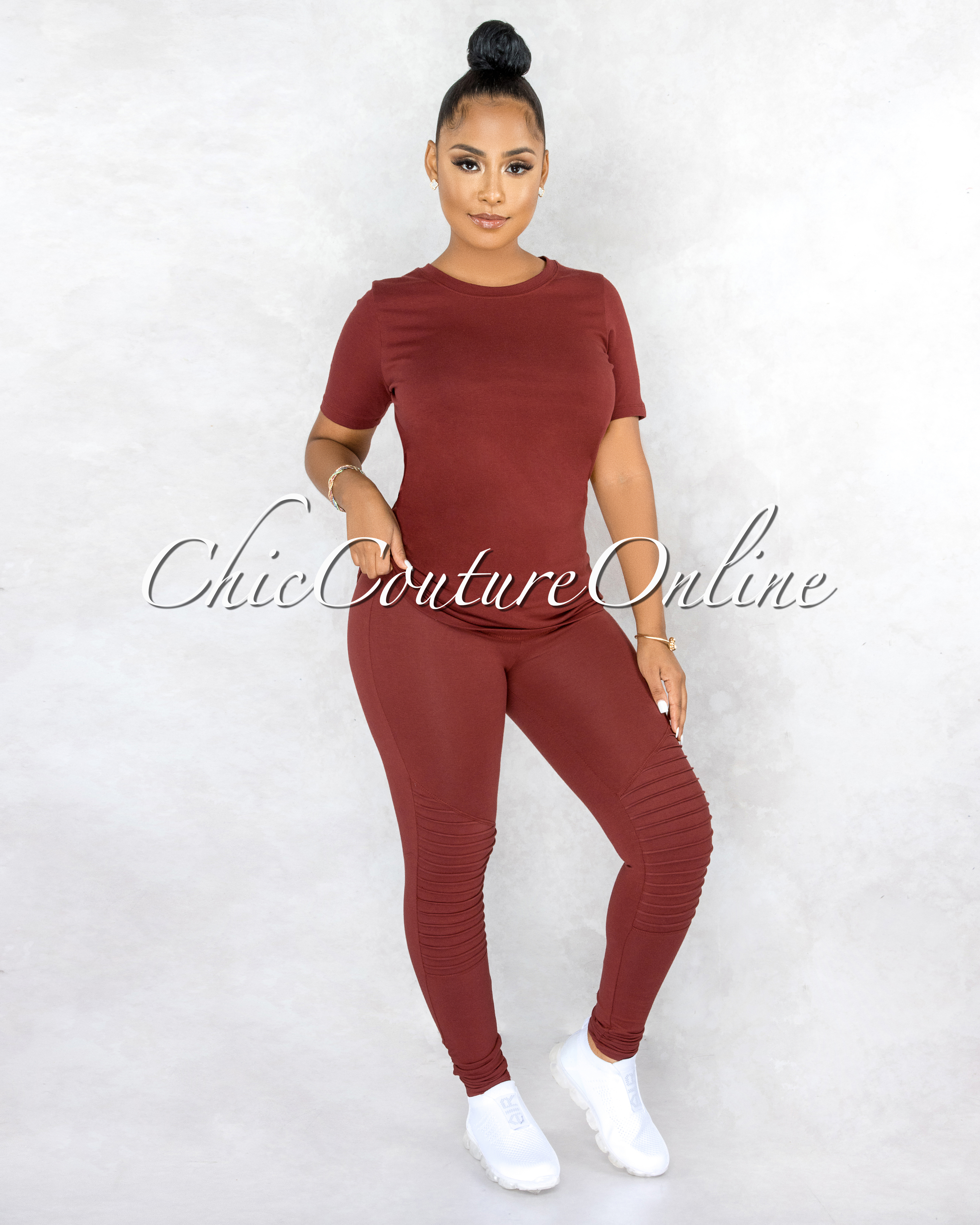 Gulzar Brick Over-Sized Shirt & Pleated Leggings CURVACEOUS Set