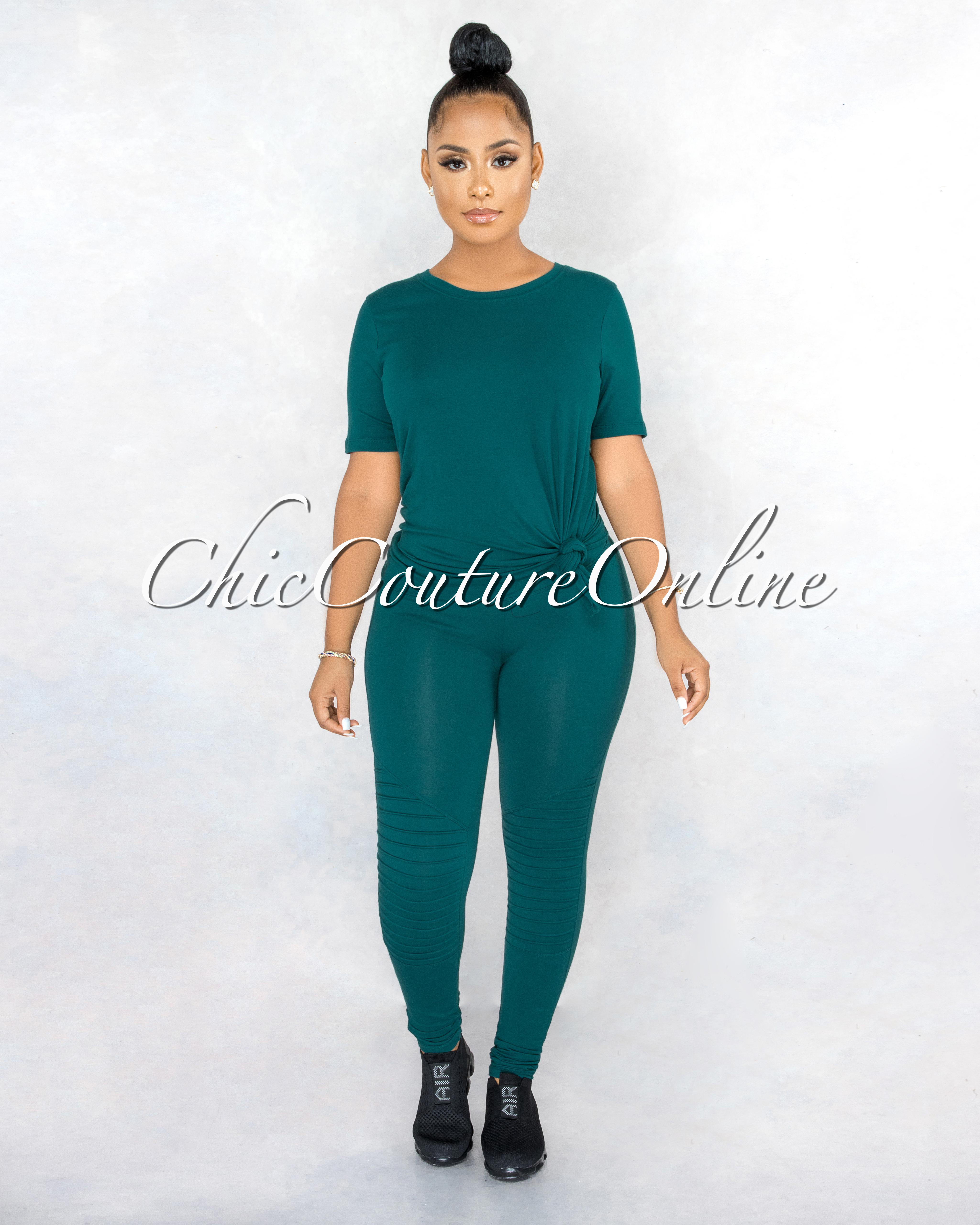 Gulzar Hunter Green Over-Sized Shirt & Leggings CURVACEOUS Set