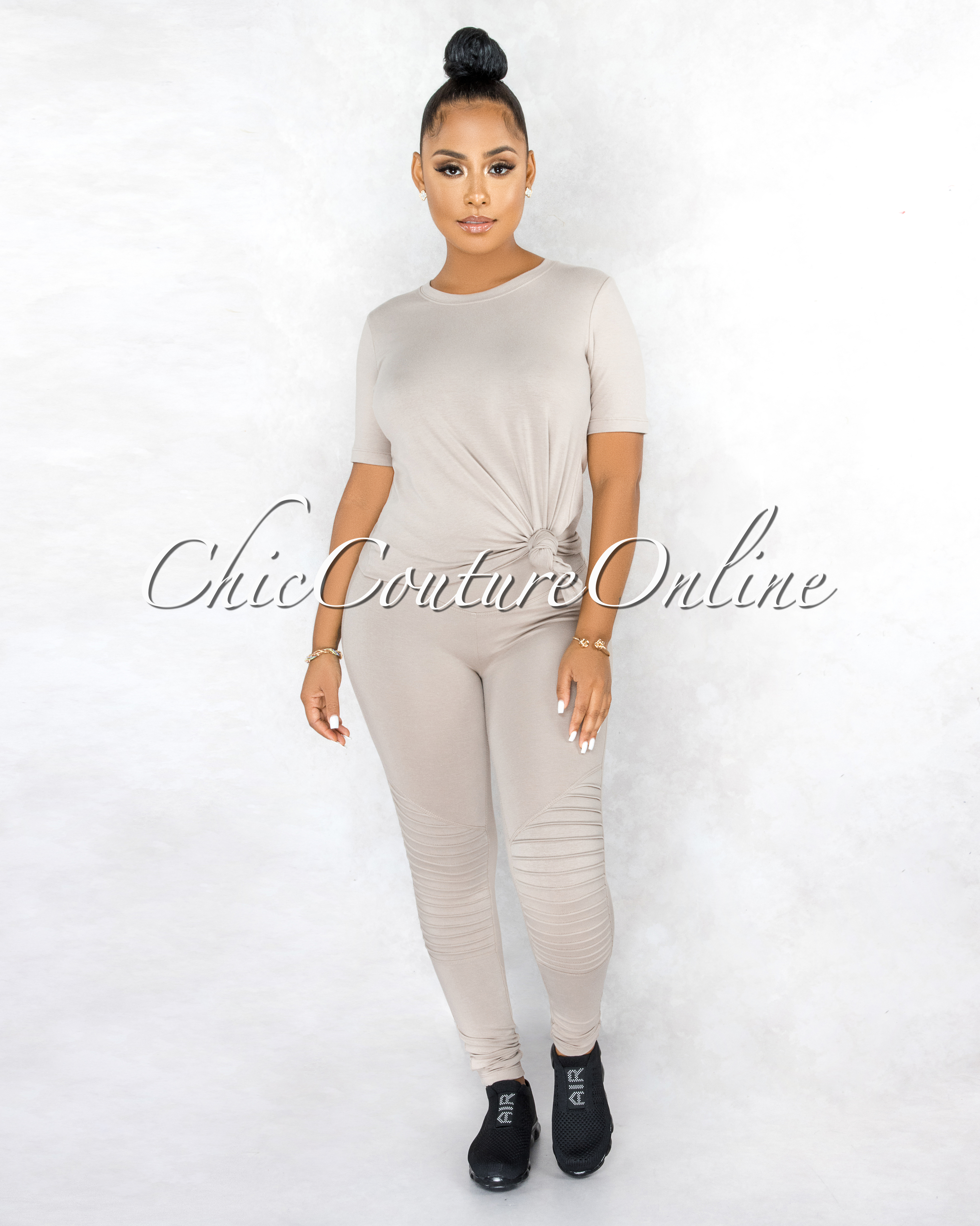 Gulzar Nude Over-Sized Shirt & Pleated Leggings CURVACEOUS Set