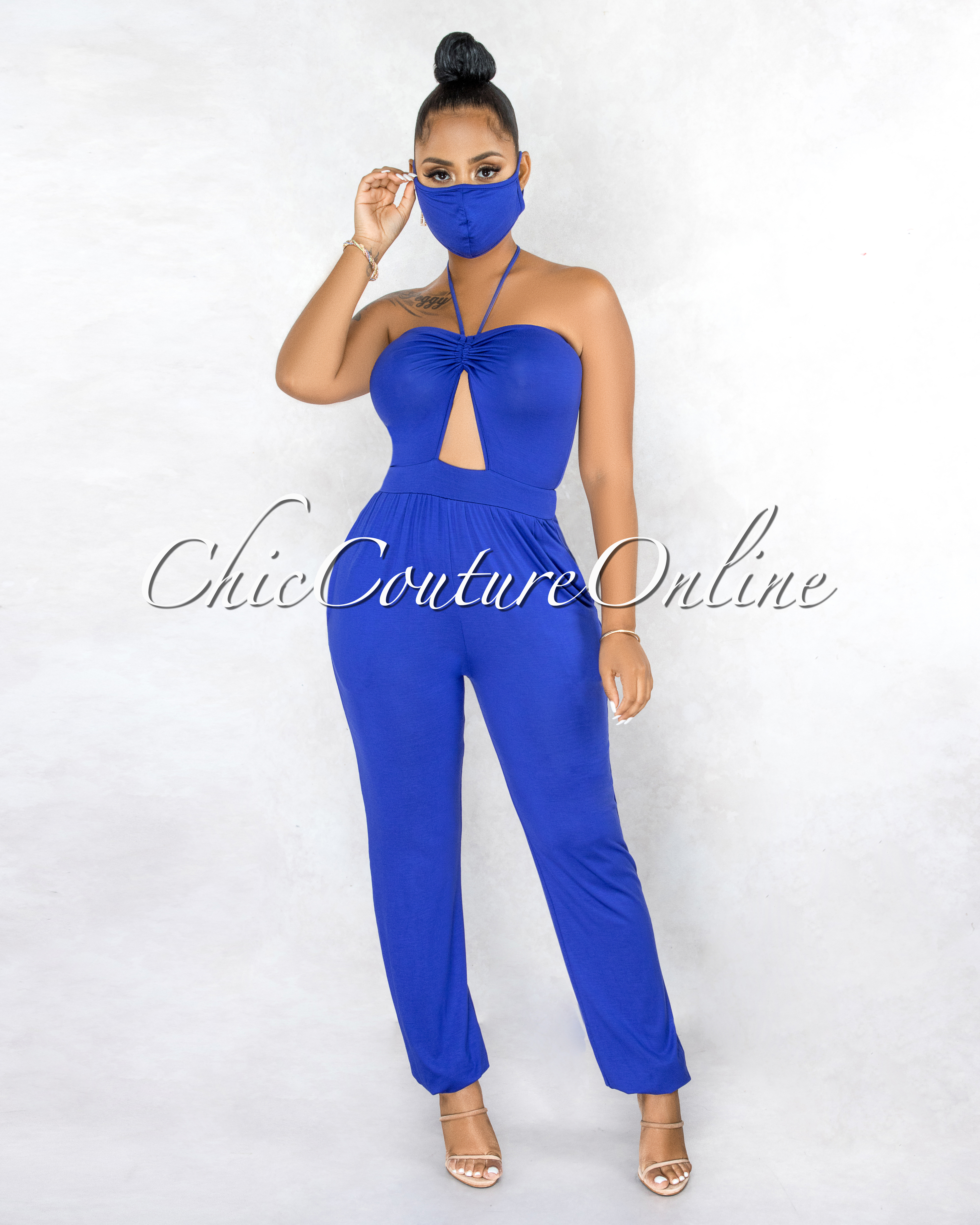 Reyhan Royal Blue Front Ruched Key-Hole Jumpsuit w Mask