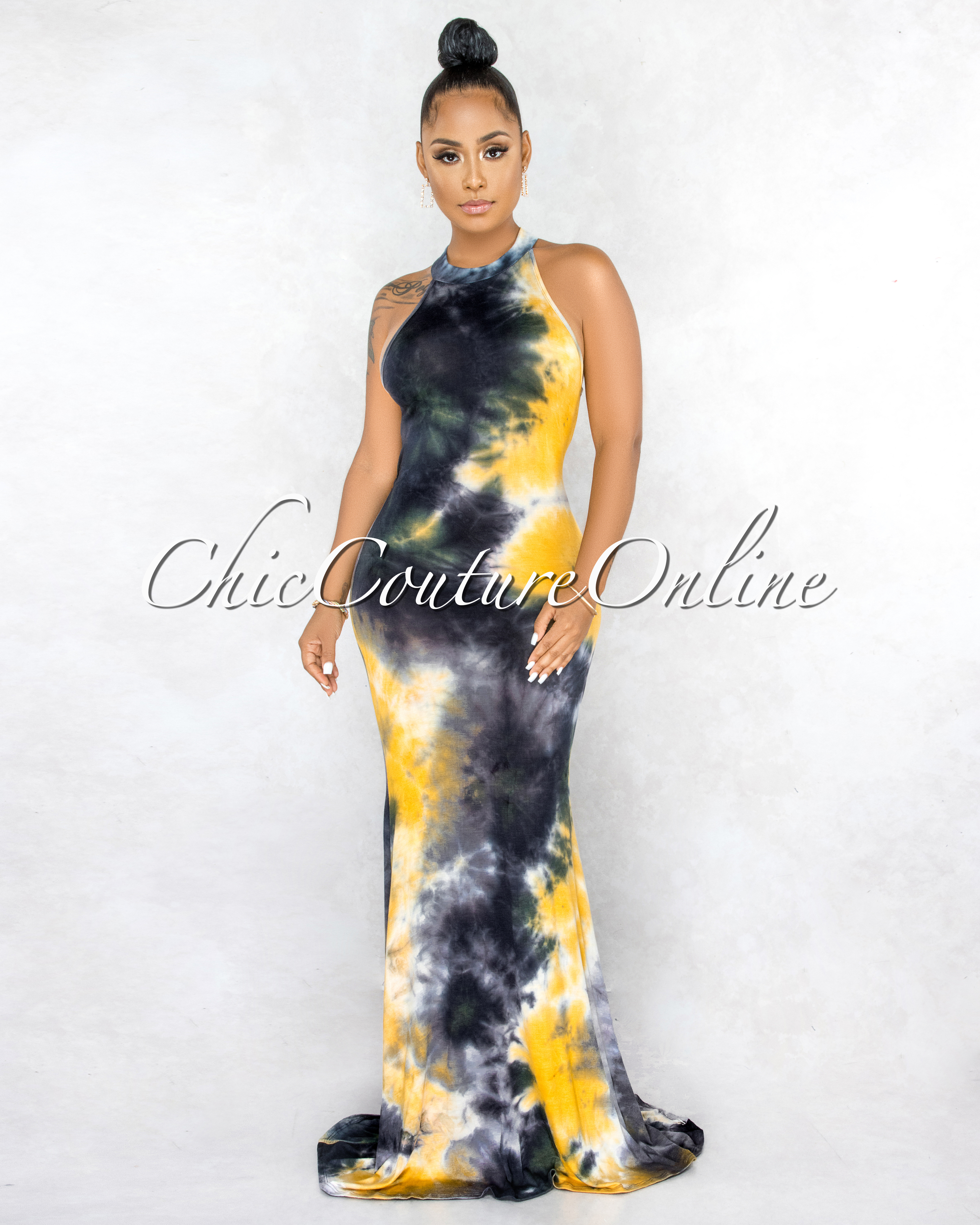 Brona Black Yellow Tie Dye Back Key Hole Maxi Dress