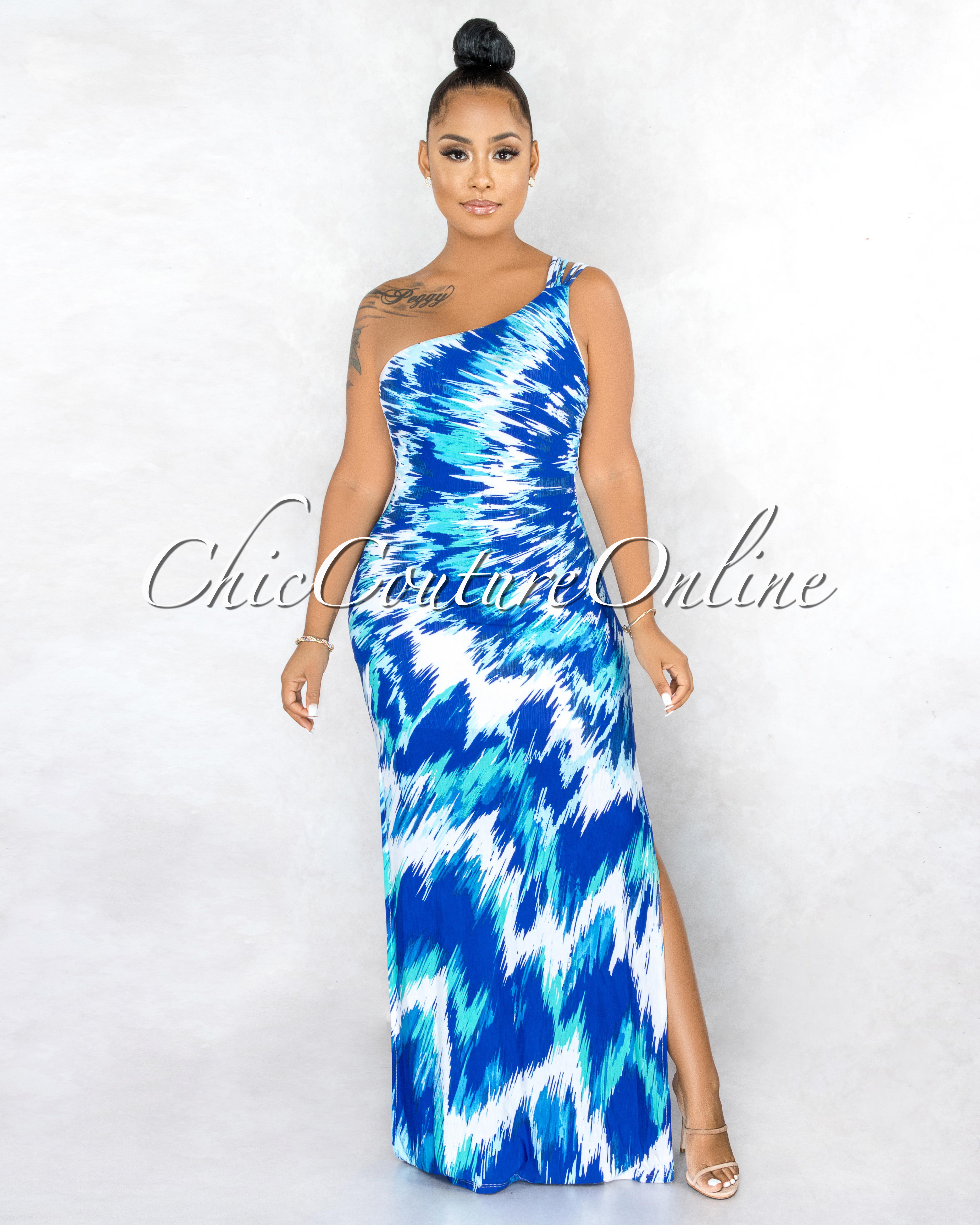 Laveda Blue White Abstract Print Single Shoulder Maxi Dress