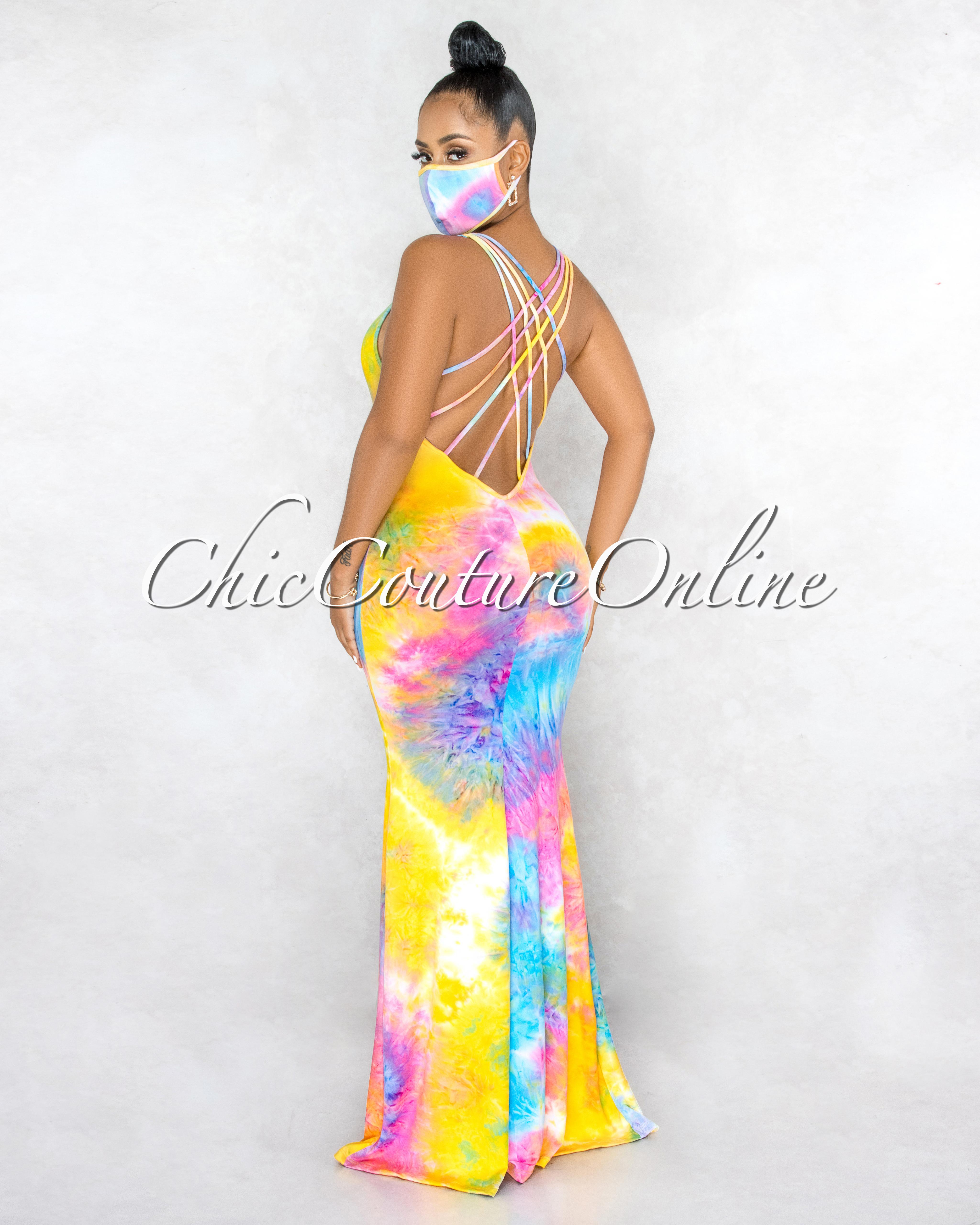 Nicosia Yellow Pink Tie-Dye Strapy Back & Mask Maxi Dress