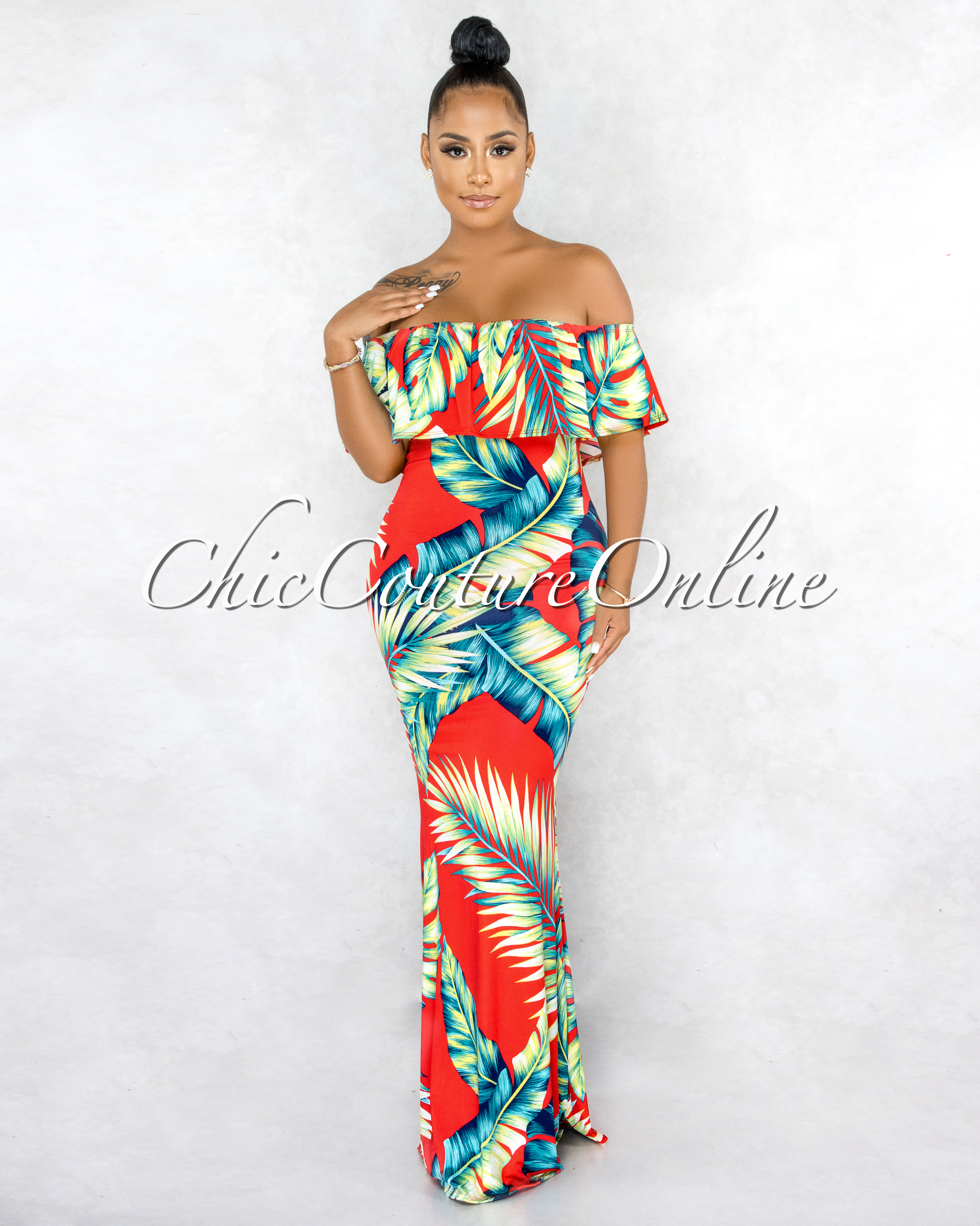 Ohanna Red Green Leaf Print Off-The-Shoulder Maxi Dress