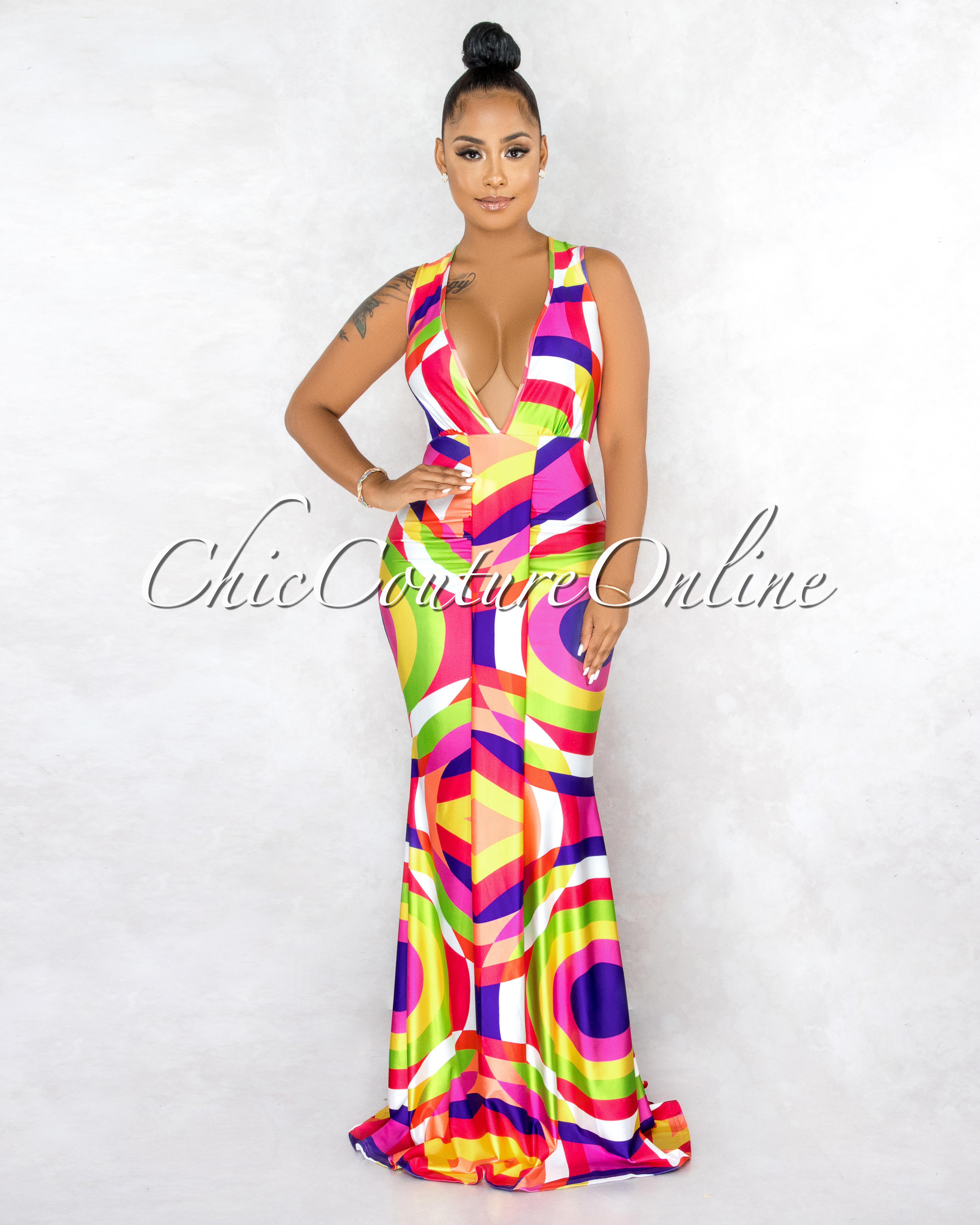 Pallavi Fuchsia Multi-Color Abstract V-Neck Drape Maxi Dress