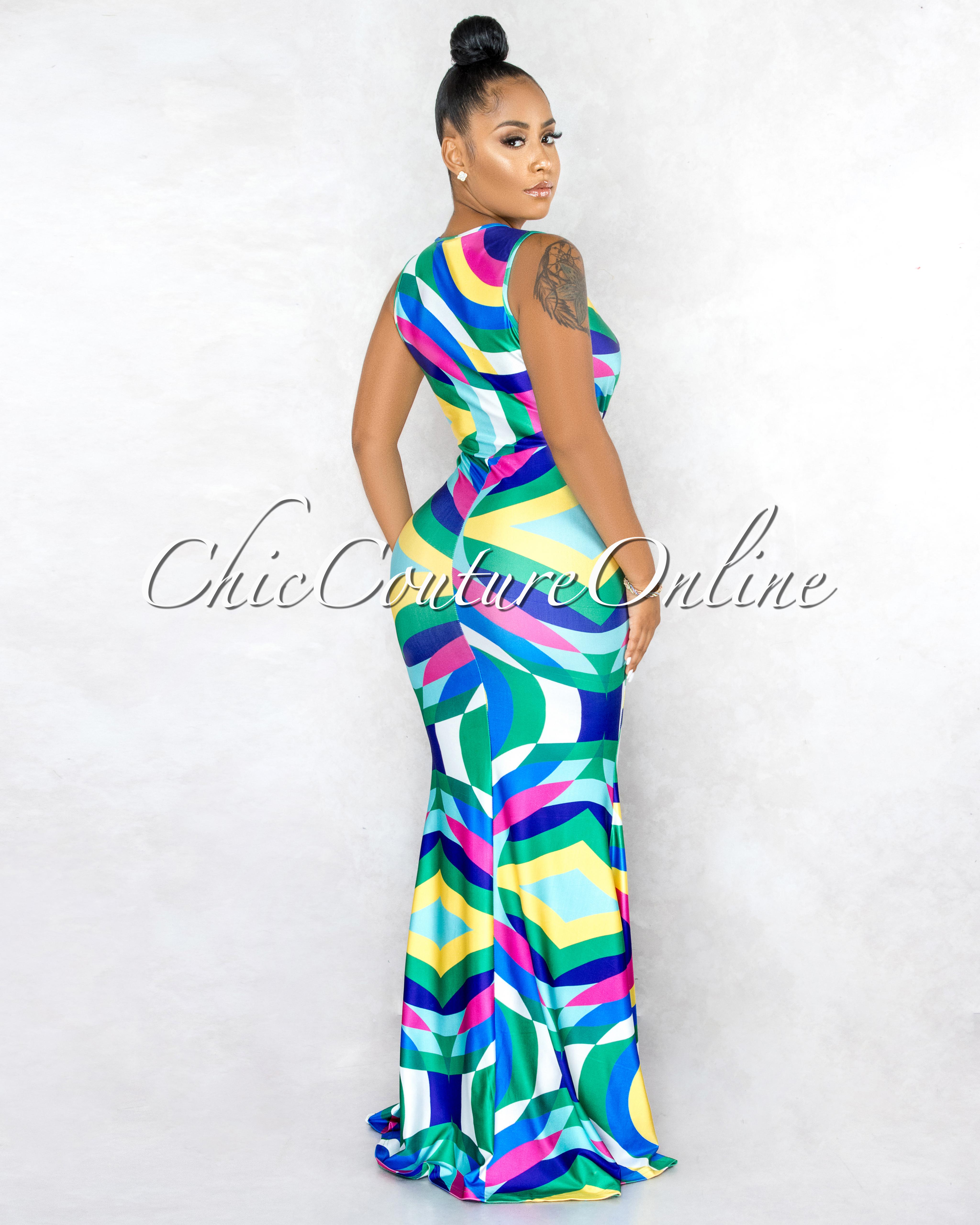 Pallavi Blue Multi-Color Abstract V-Neck Drape Maxi Dress