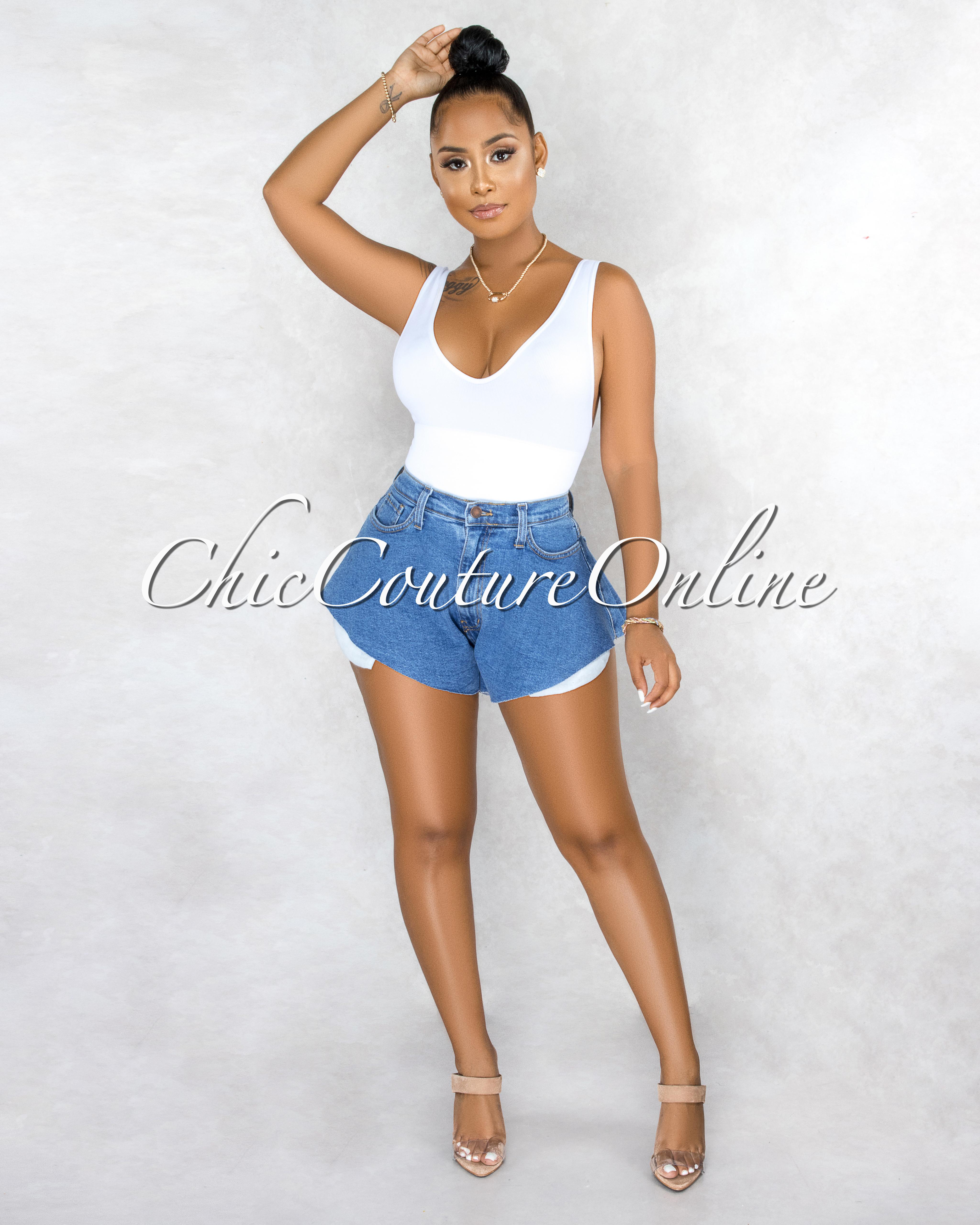 Owena Blue Denim Flutter Mini Shorts