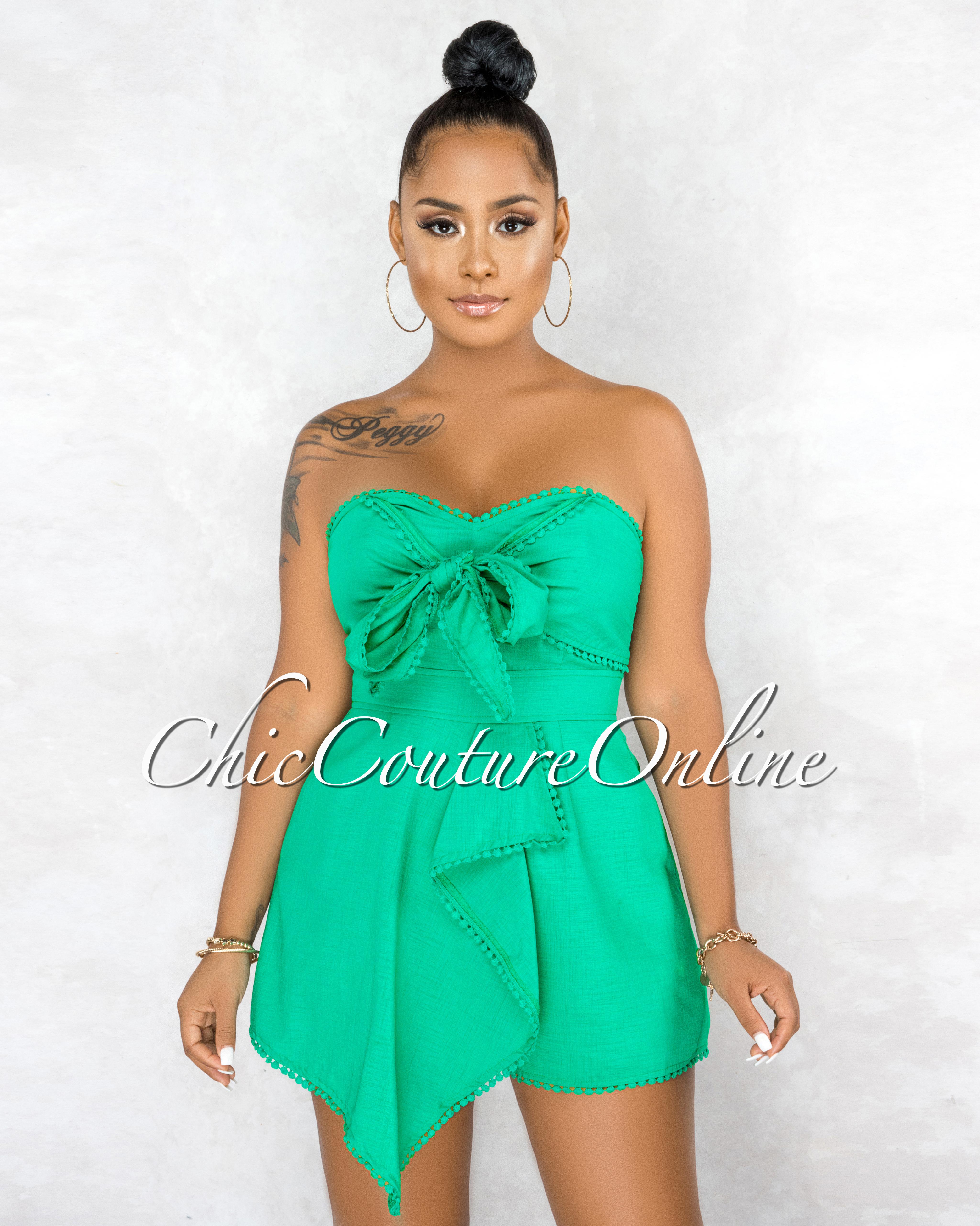 Osred Green Front Tie Crochet Details Flutter Romper