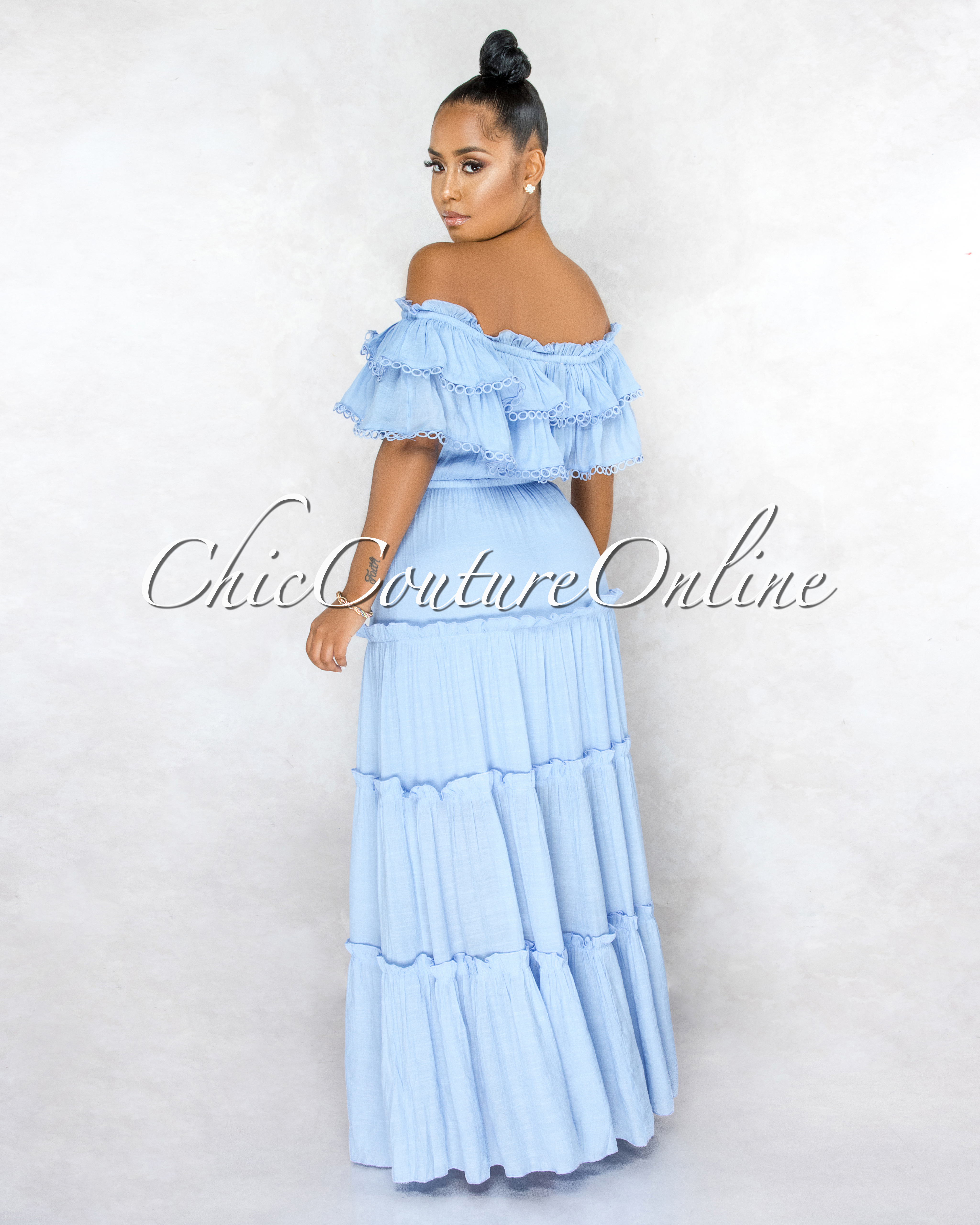 Abba Baby Blue Off-The-Shoulder Ruffle Eyelet Maxi Dress