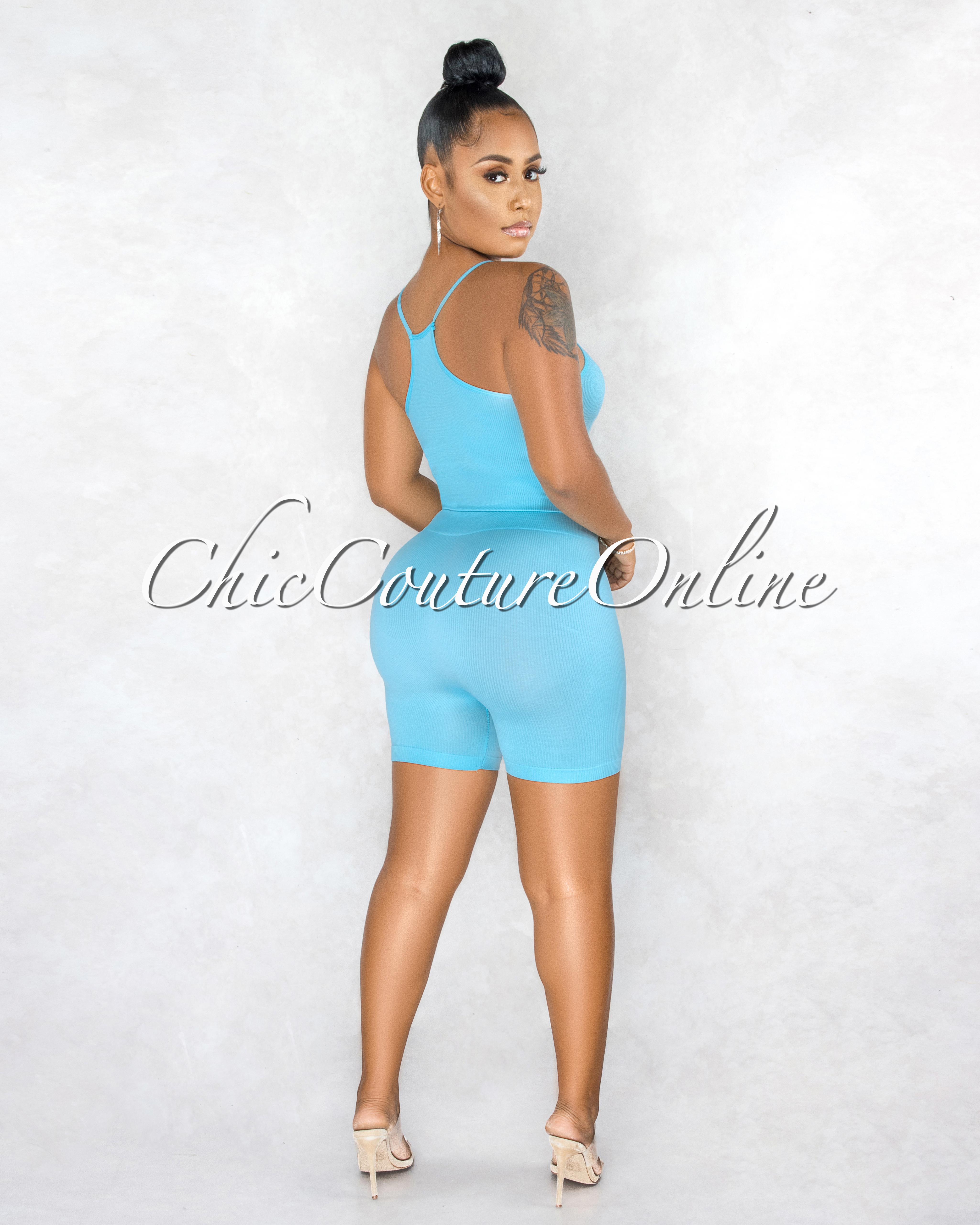 Kimberly Baby Blue Ribbed Racer Top Body-Con Shorts Set