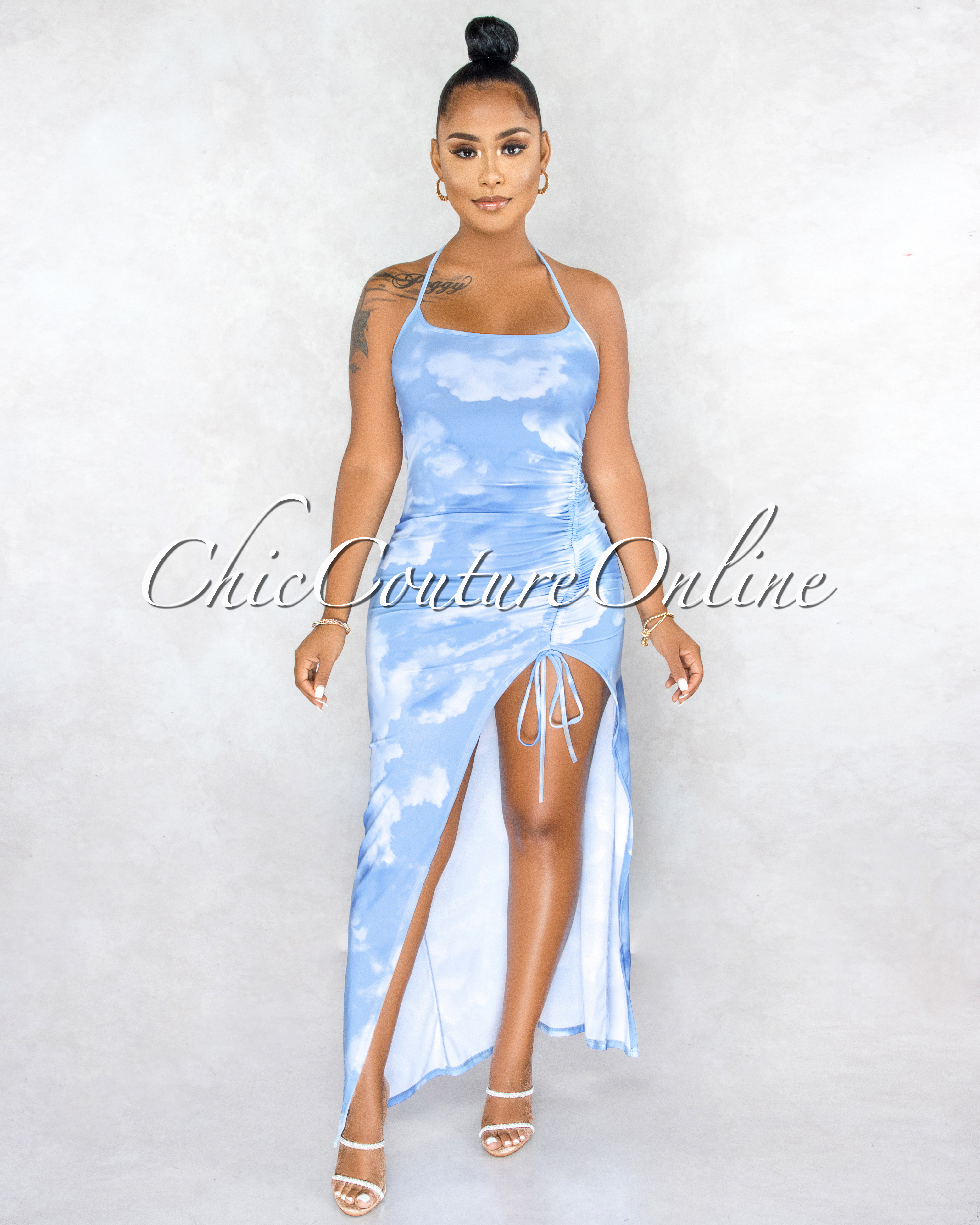 Heavenly Sky Blue Clouds Print Ruched Side Slit Maxi Dress
