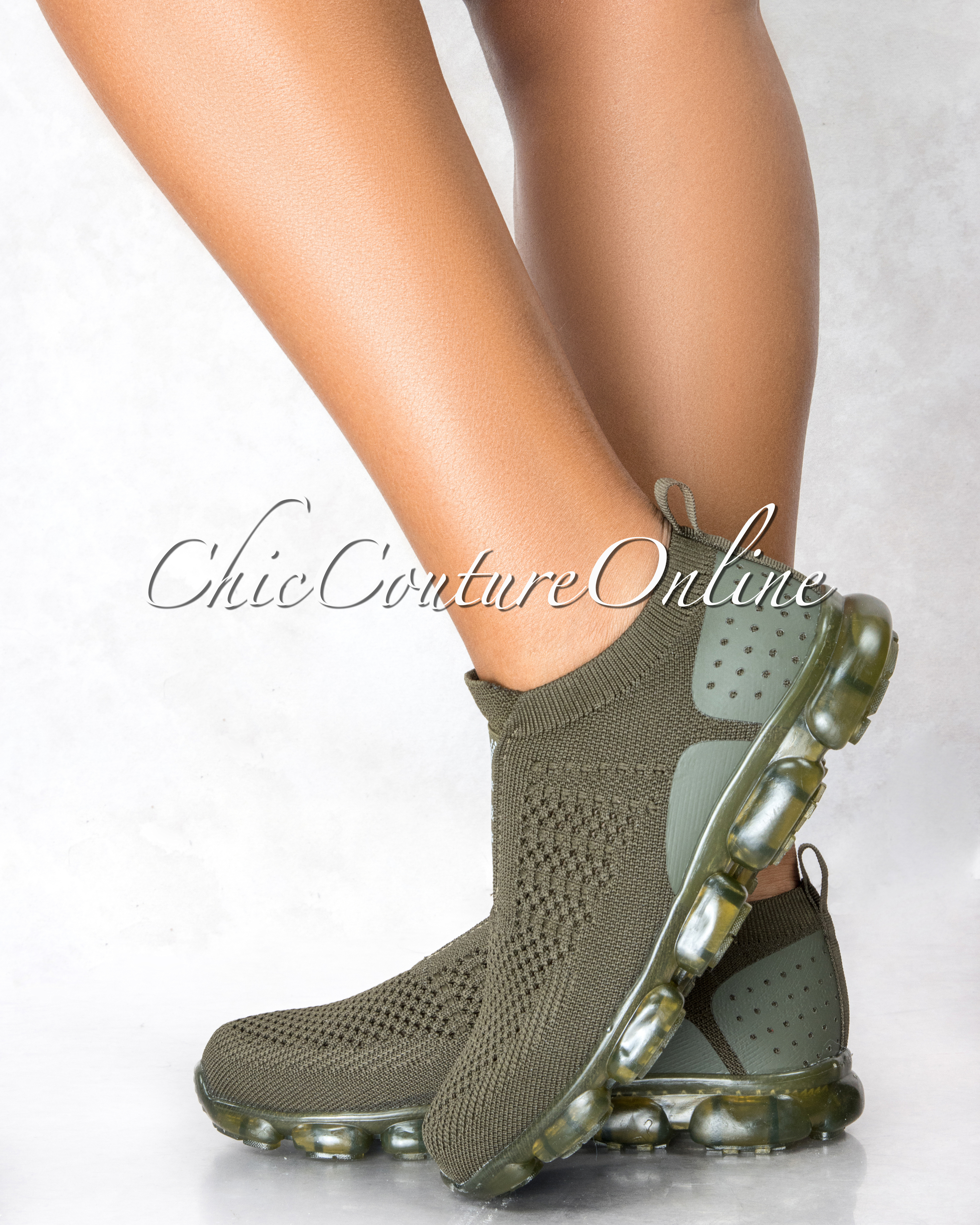 Algis Olive Green Ultra Flex AIR Graphic Sneakers