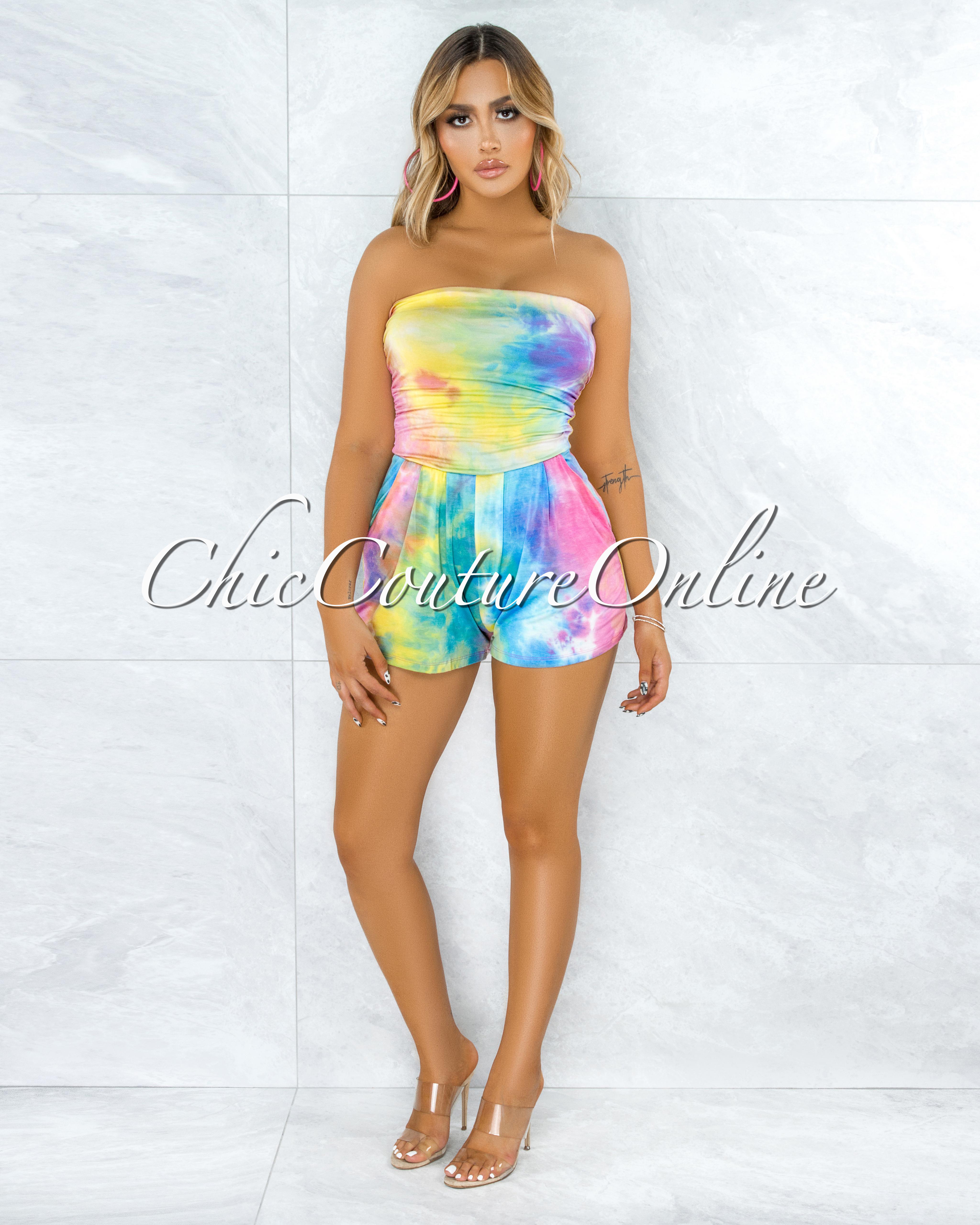 Chaela Rainbow Tie-Dye Drapped Romper