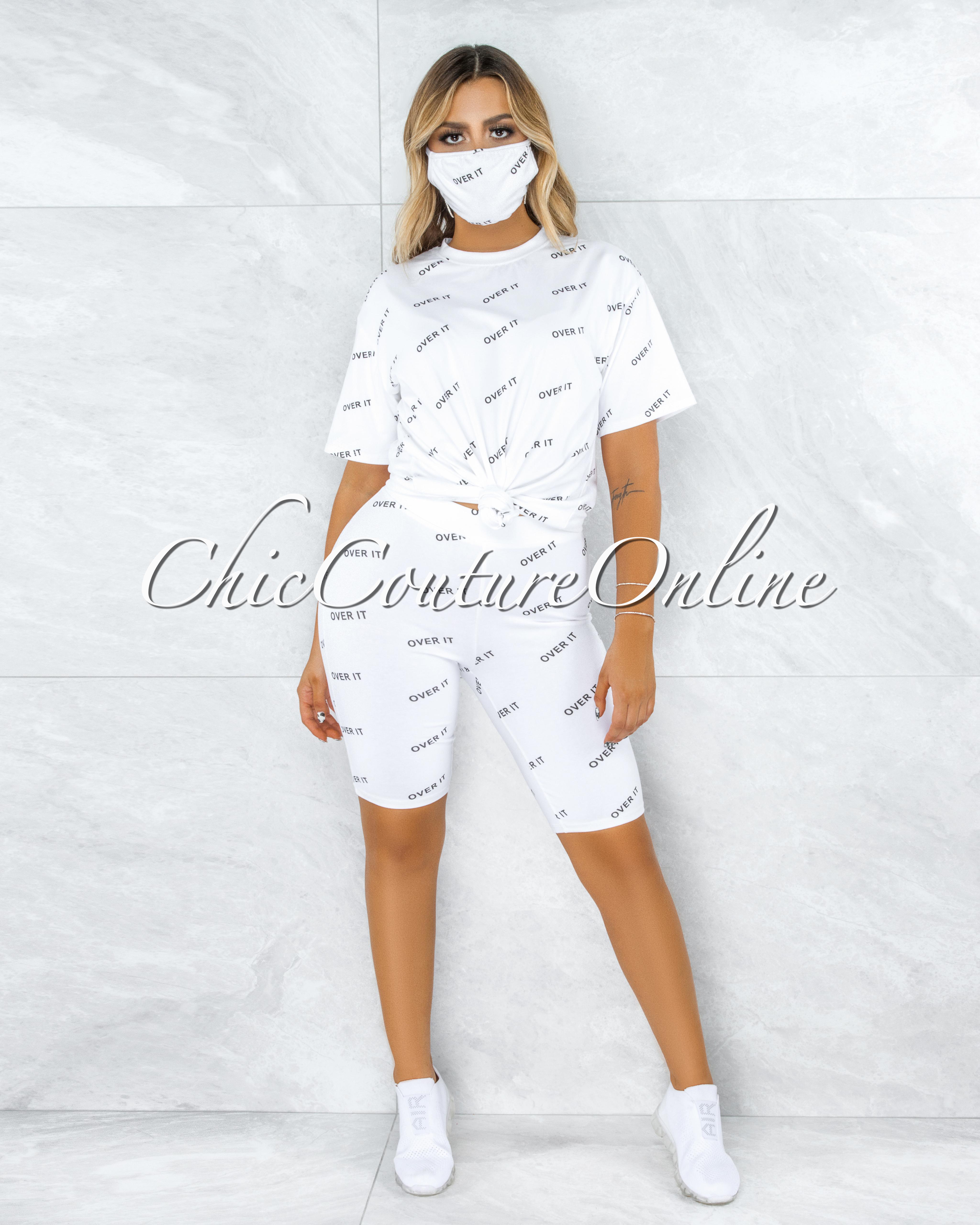 Brunet Off-White Black Graphic Bike Shorts Set w Mask