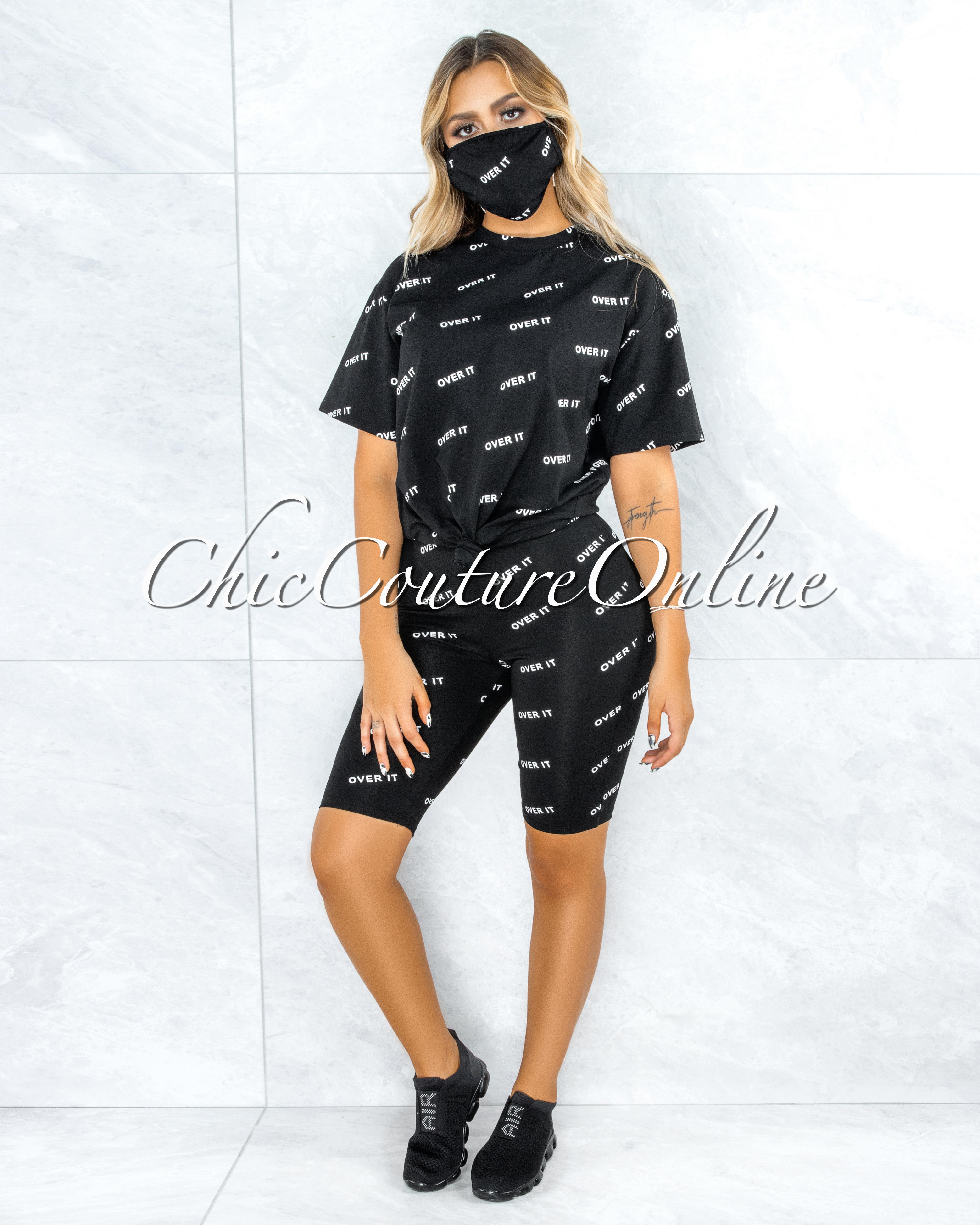 Brunet Black Off-White Graphic Bike Shorts Set w Mask