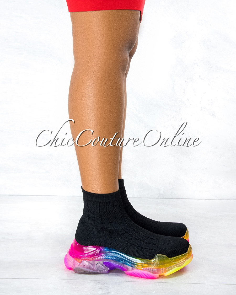 Raisin Black Ultra Flex Rainbow Sole Knit Sock Sneakers