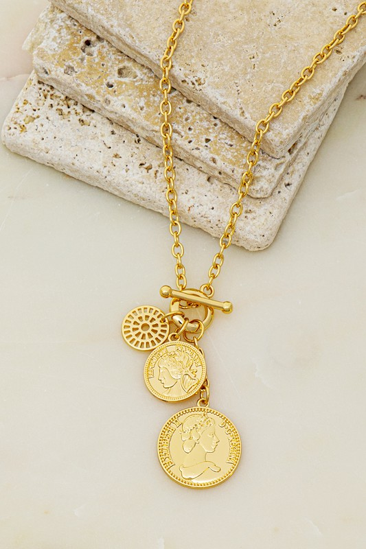 Koraly Gold Coin Cluster Charm Necklace