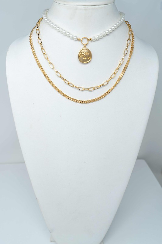 Lorna Gold Pearl & Coin with Chunky Chain Necklace
