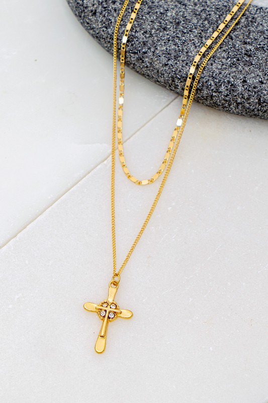 Stanny Double Strand Cross Charm Necklace