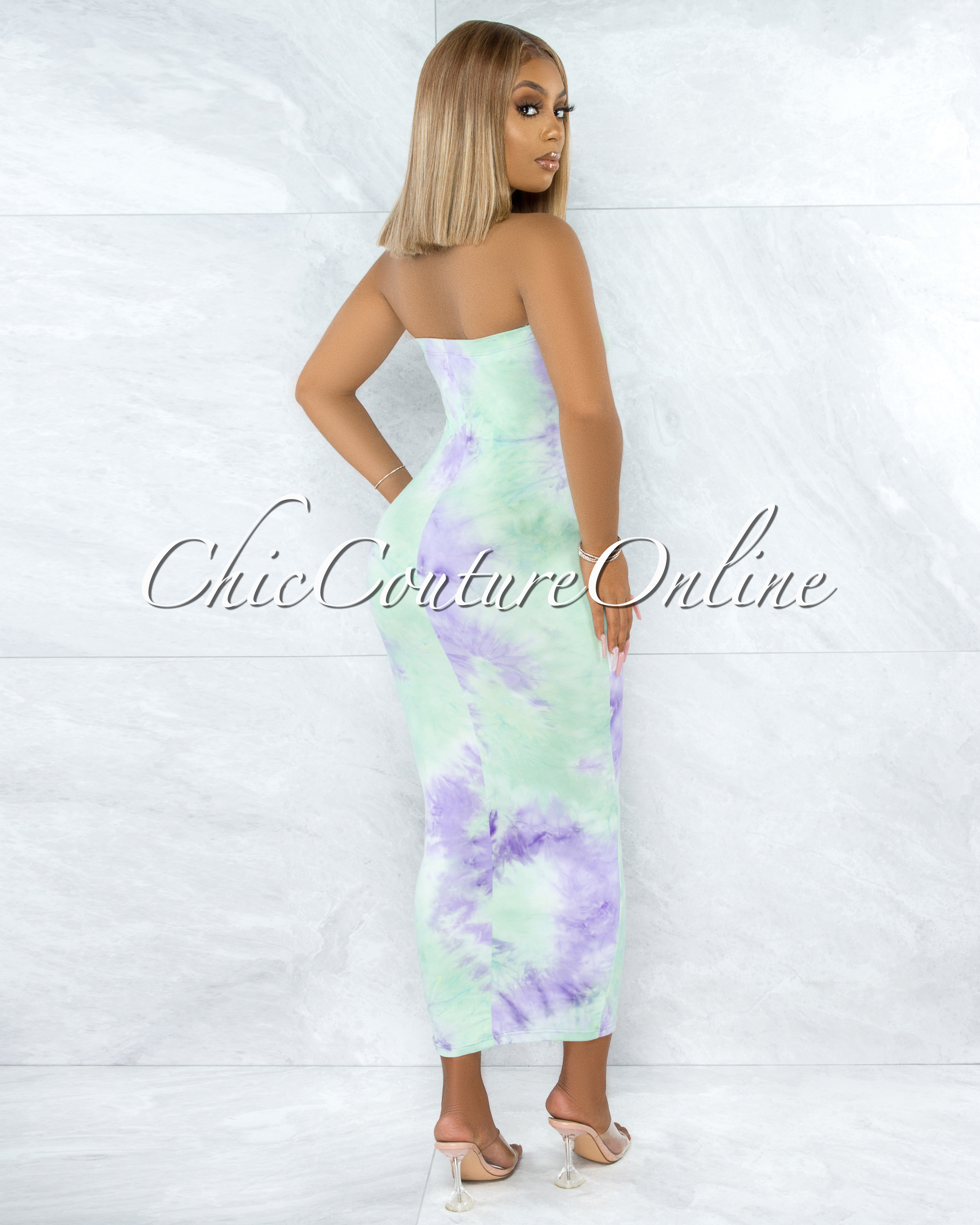 Jaffer Green Purple Tie-Dye Strapless Body-Con Dress