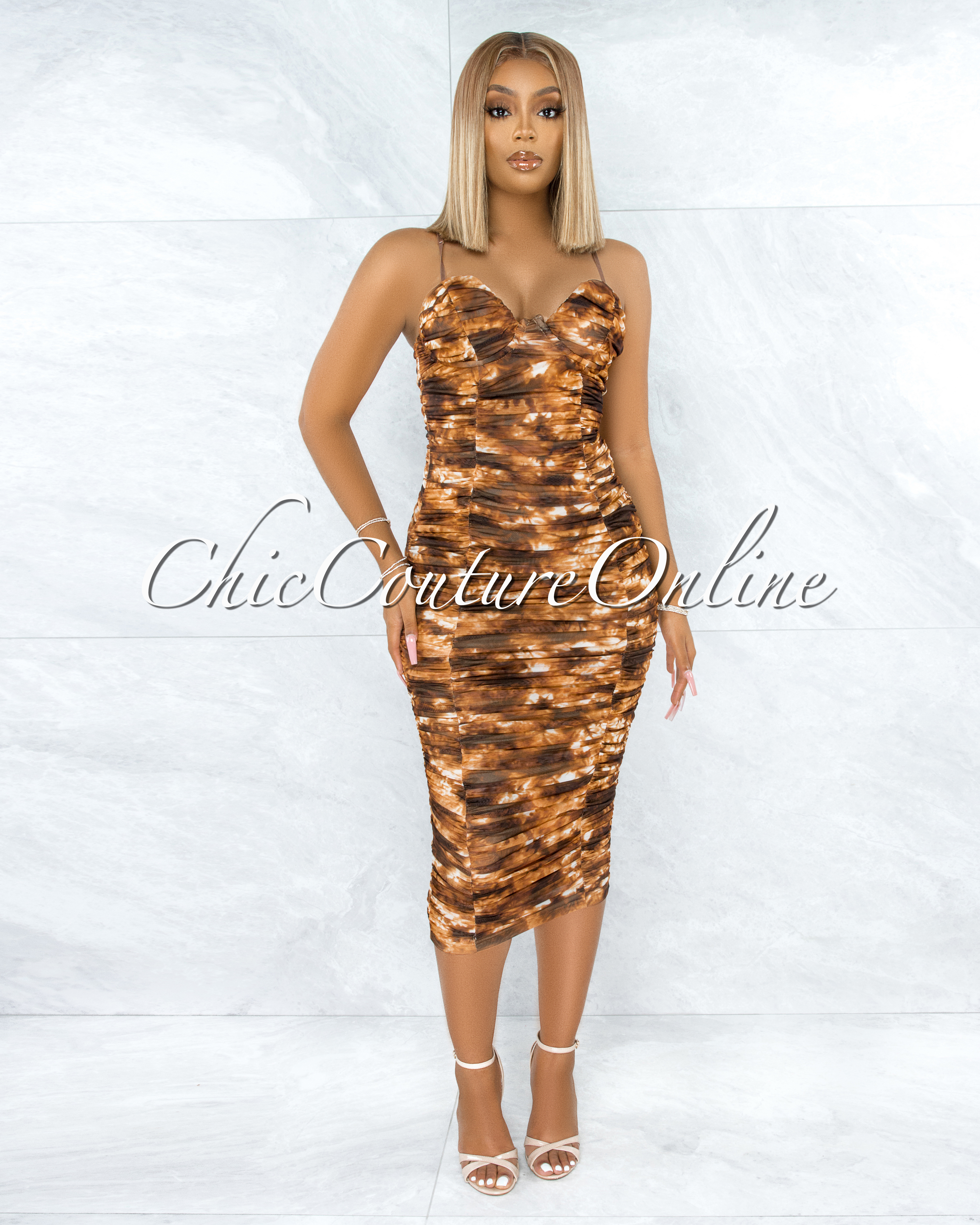 Seidel Brown Tie-Dye Ruched Padded Cups Midi Dress