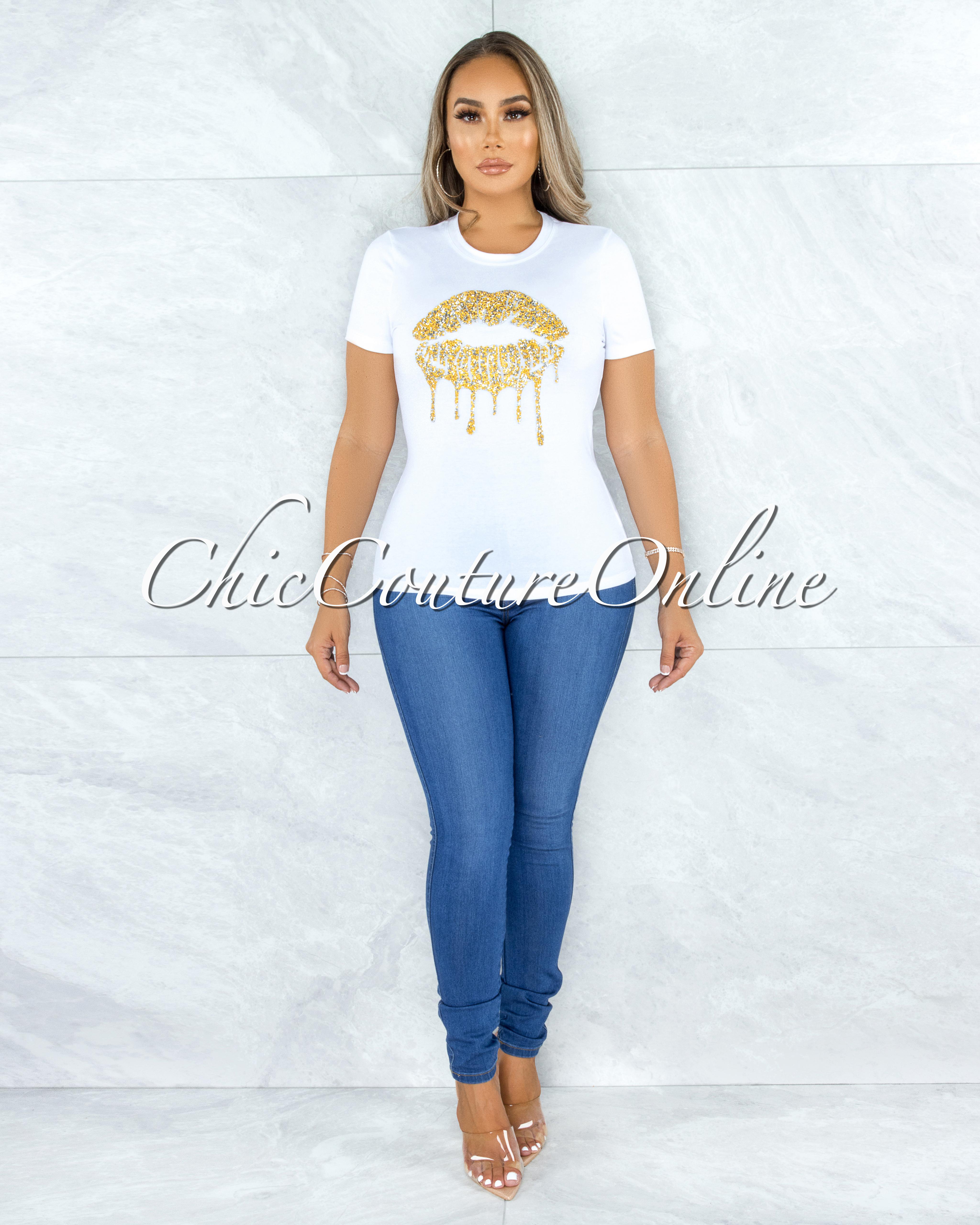 Fabrice Off-White Gold Rhinestones Lips Graphic T-Shirt