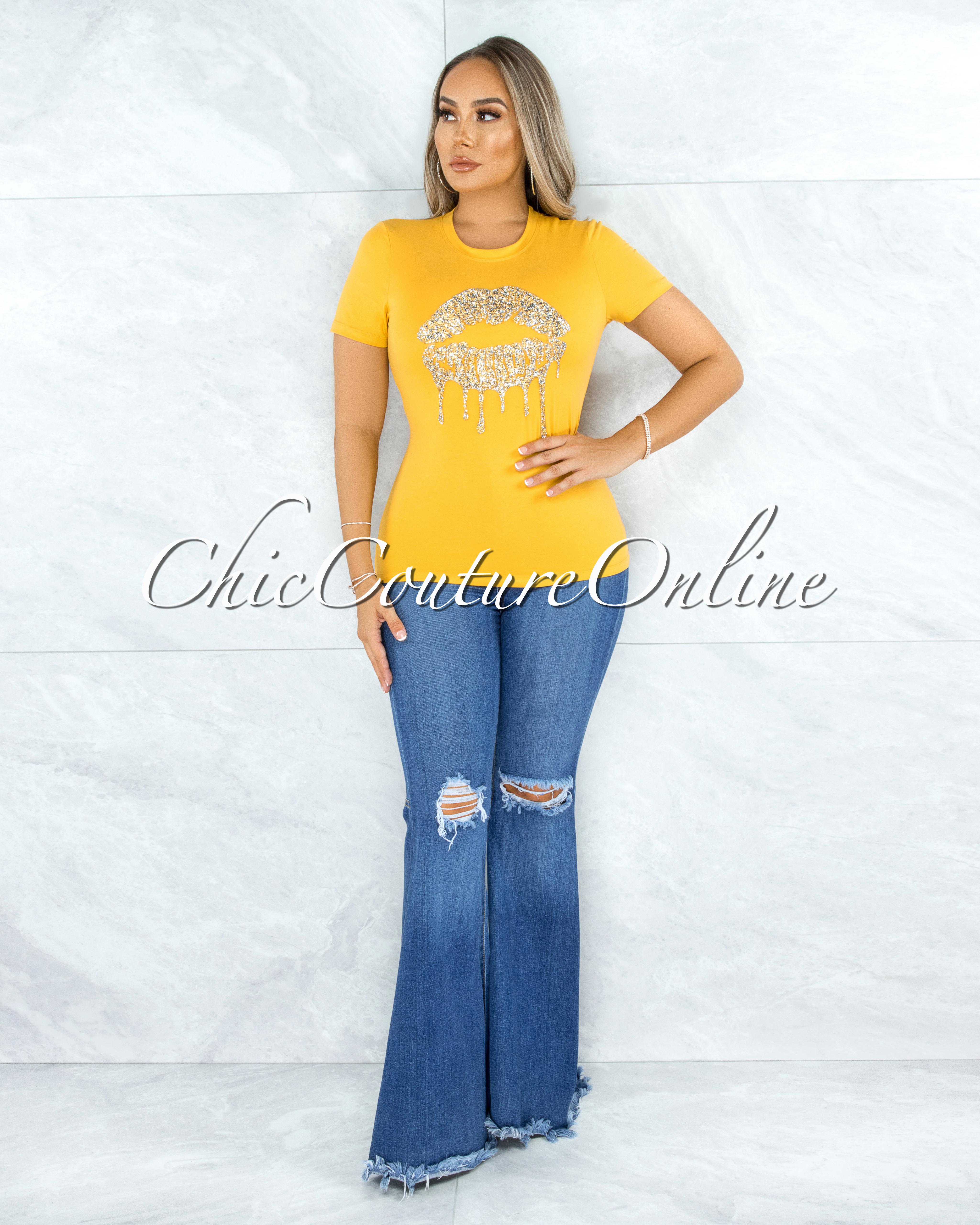 Fabrice Yellow Gold Rhinestones Lips Graphic T-Shirt