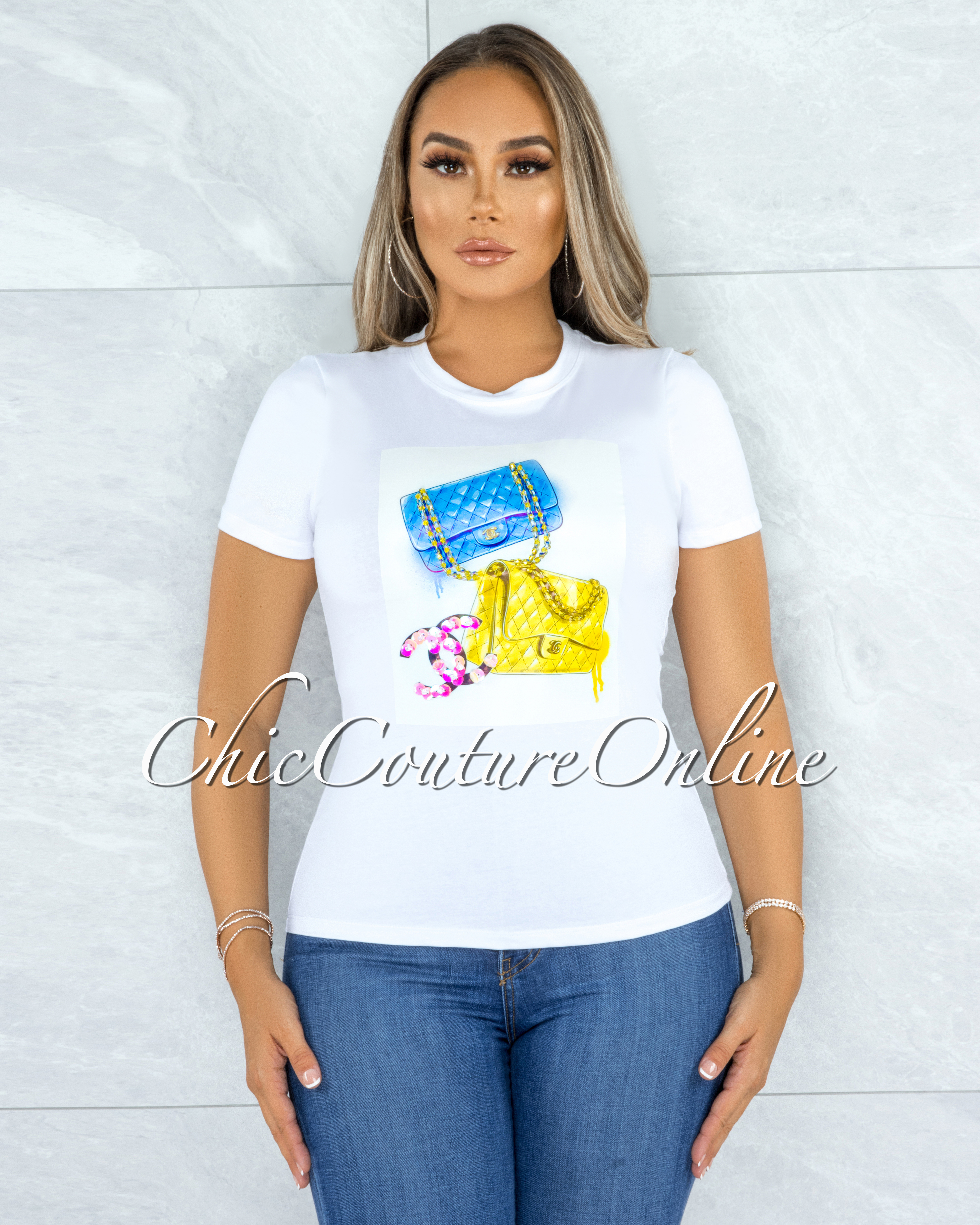 Laquindon White Blue Yellow Graphic Sequins T-Shirt