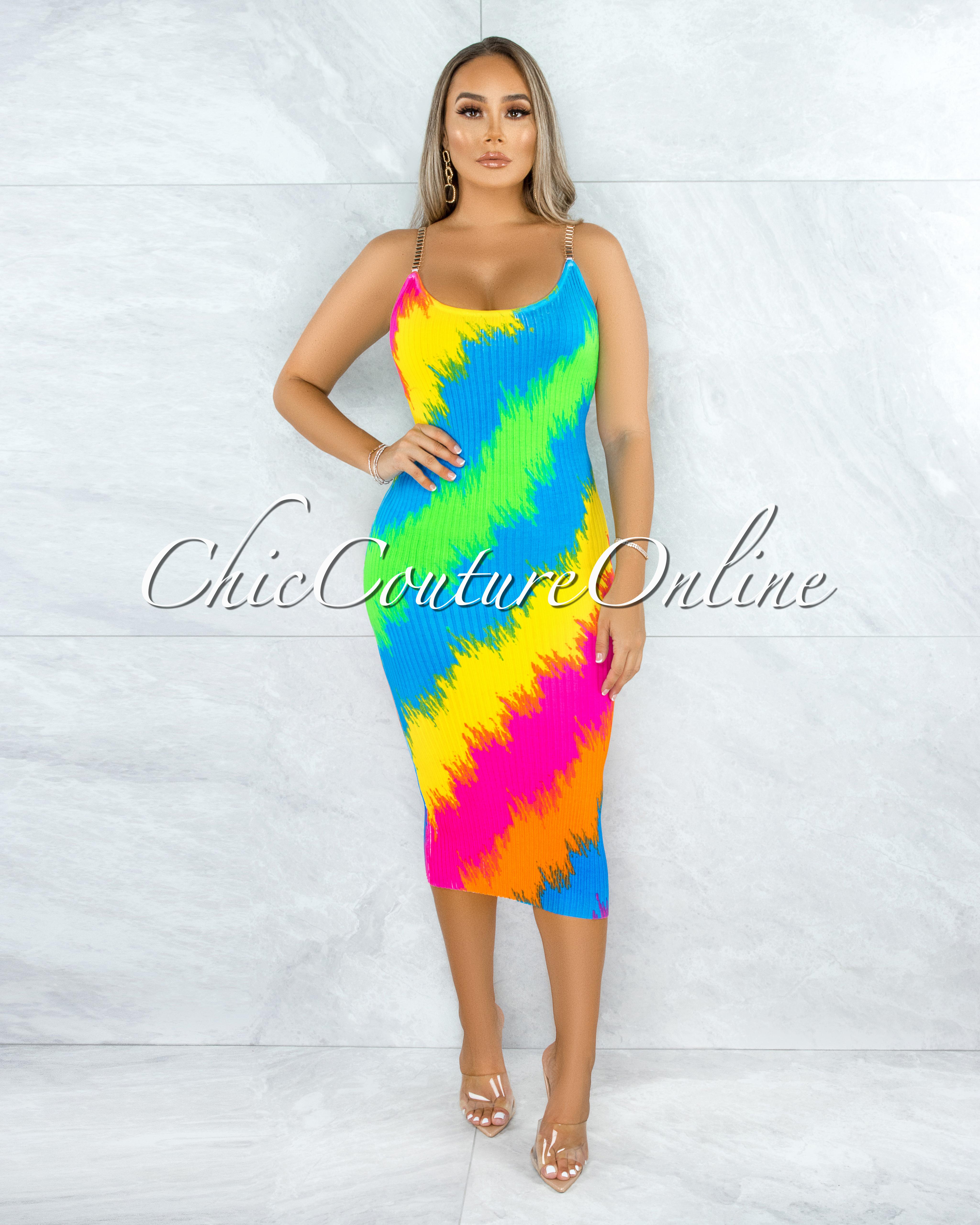 Quinta Rainbow Neon Print Gold Link Straps Midi Ribbed Dress