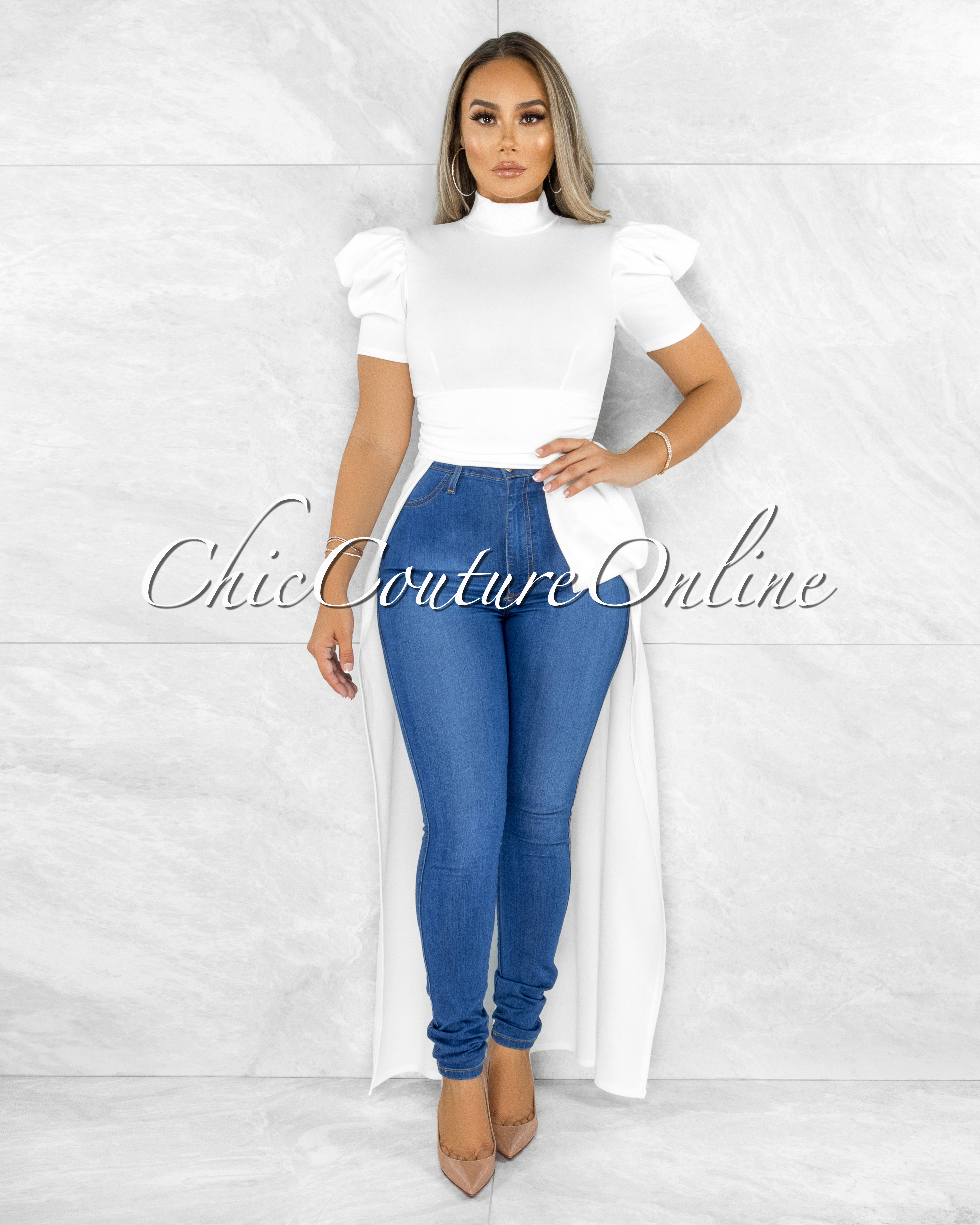 Farnley Off-White Dramatic High-Low Puffy Sleeves Top
