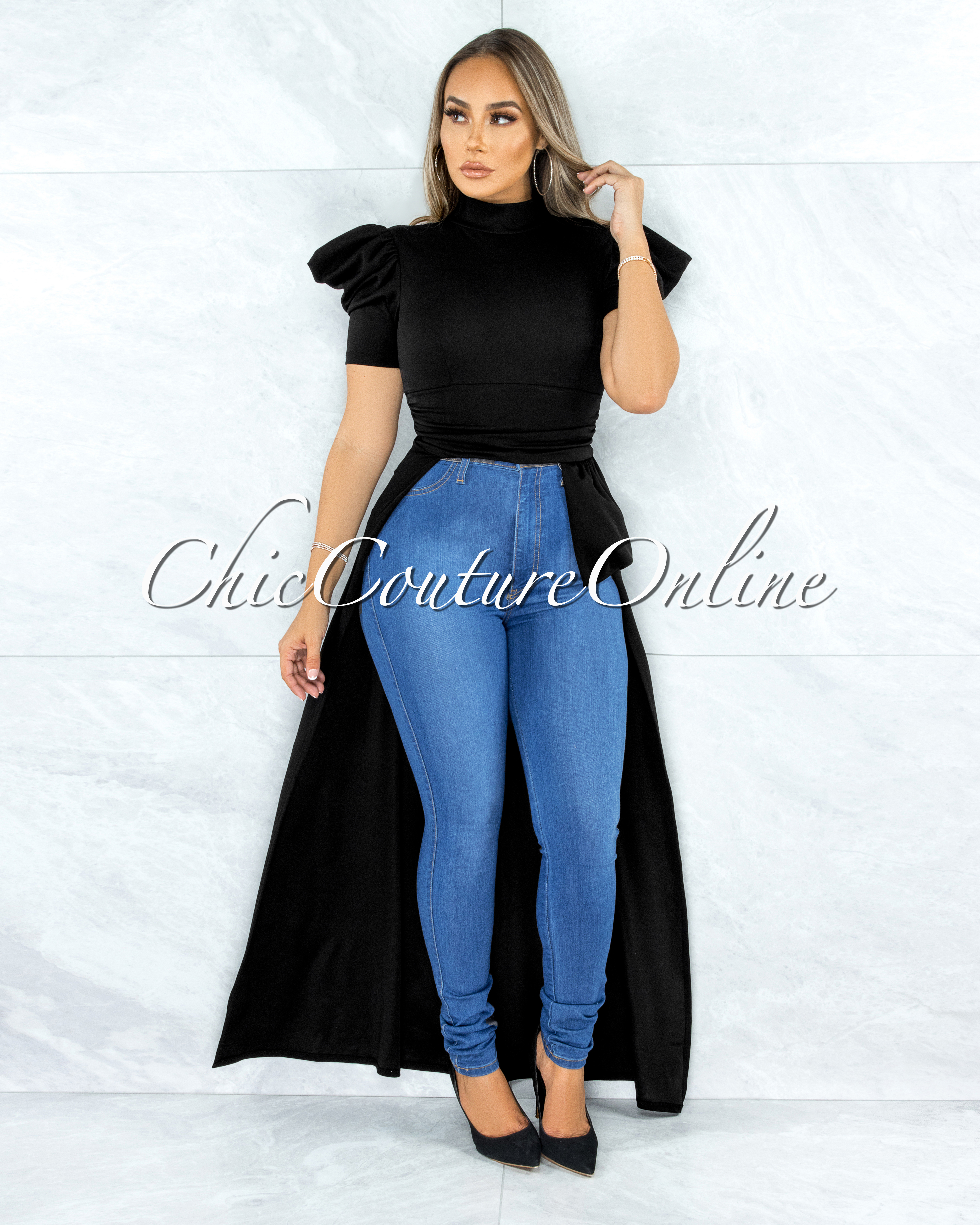 Farnley Black Dramatic High-Low Puffy Sleeves Top