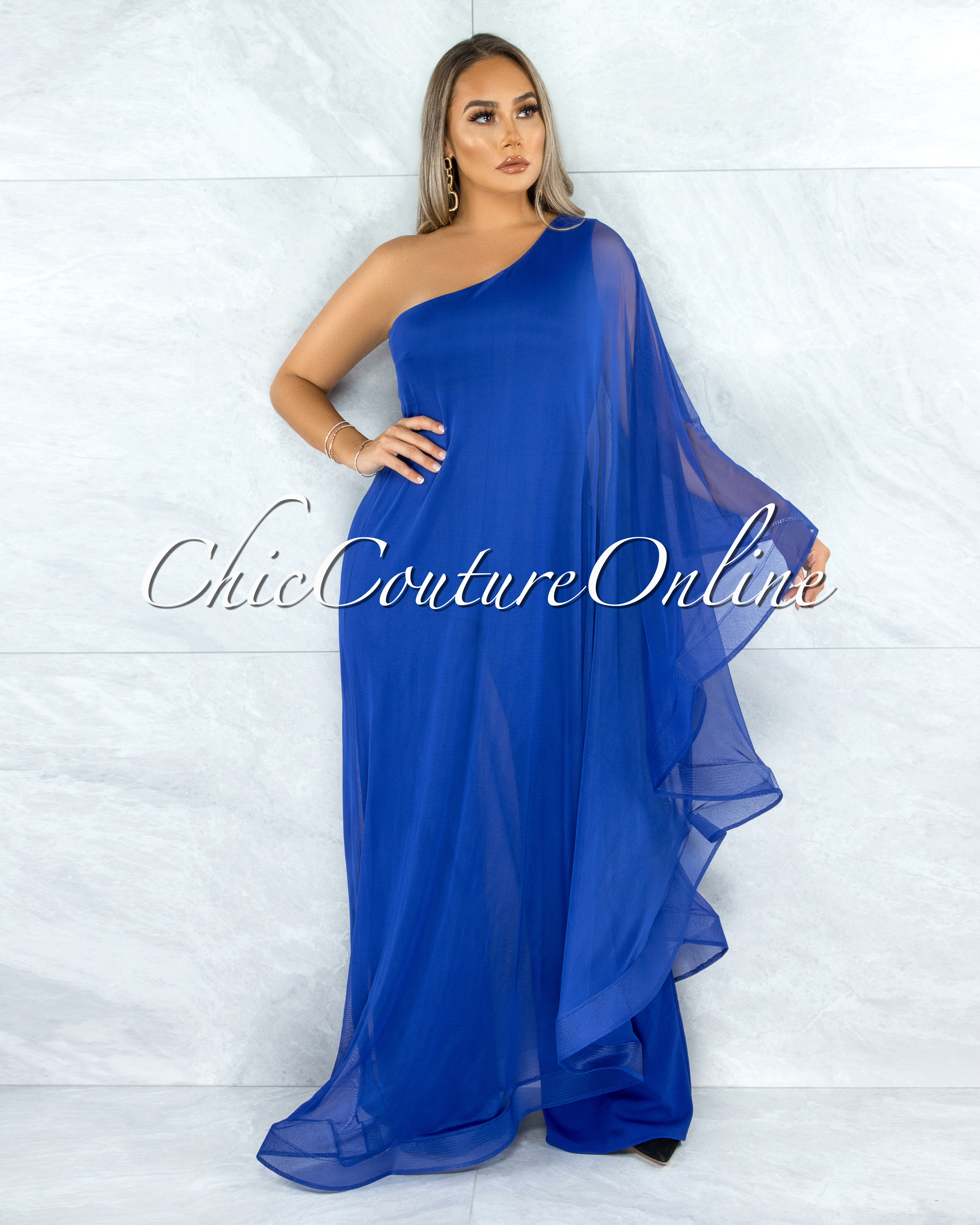 Kapila Royal Blue Dramatic Single Sleeve Tunic Jumpsuit