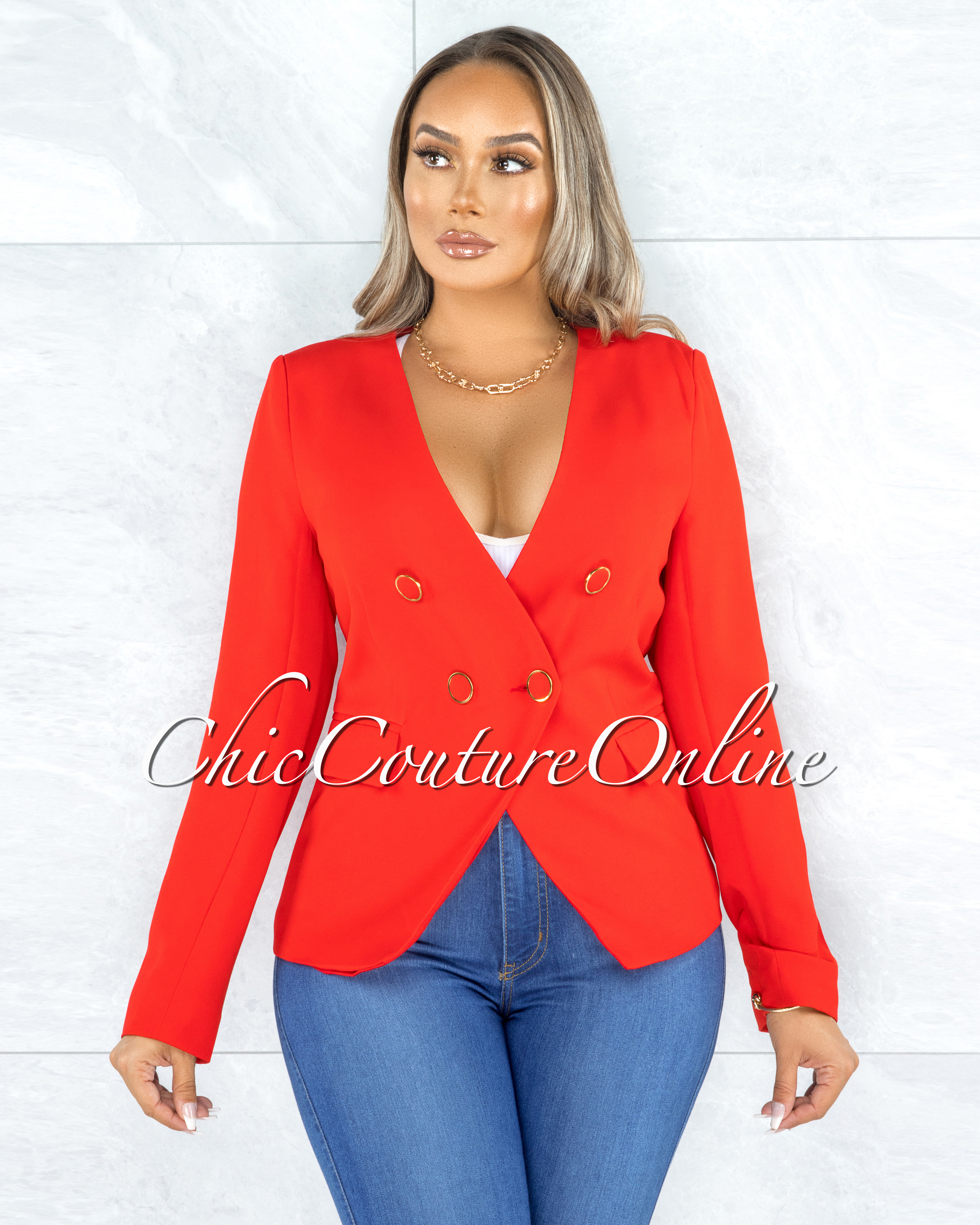 Iowa Red Gold Buttons Double Breasted Jacket