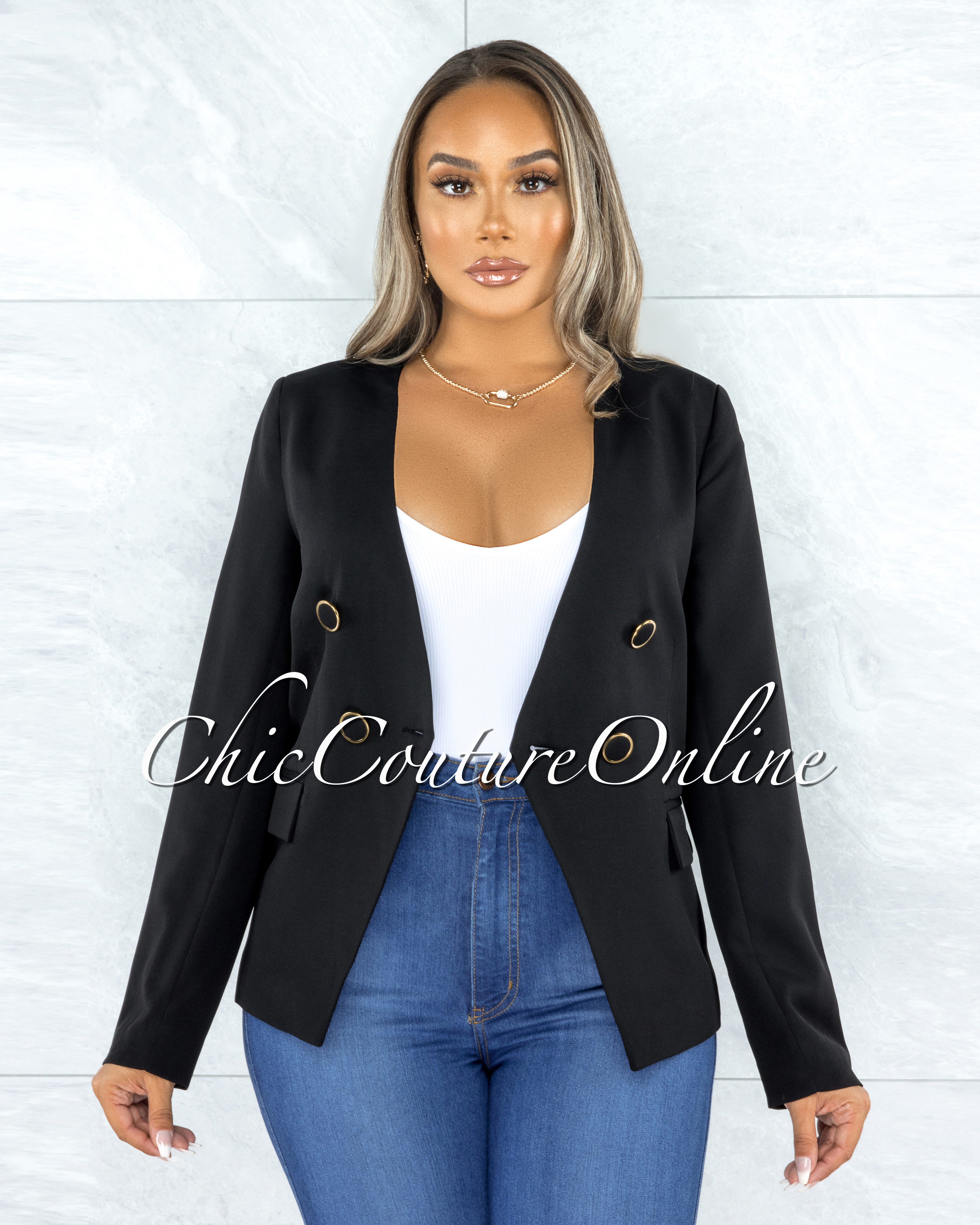 Iowa Black Gold Buttons Double Breasted Jacket