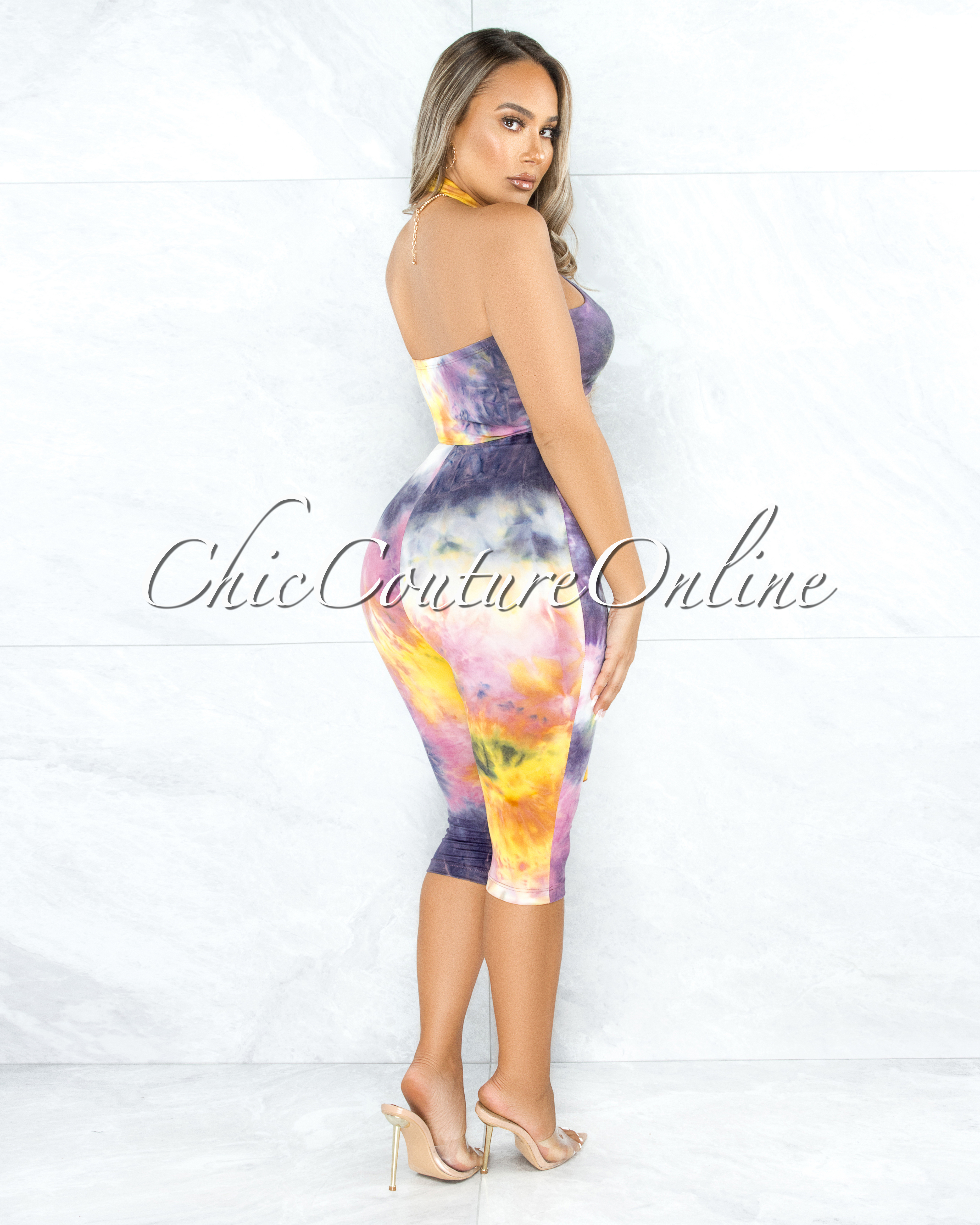 Hurit Pink Grey Yellow Tie-Dye Halter Cut-Out Tie Romper