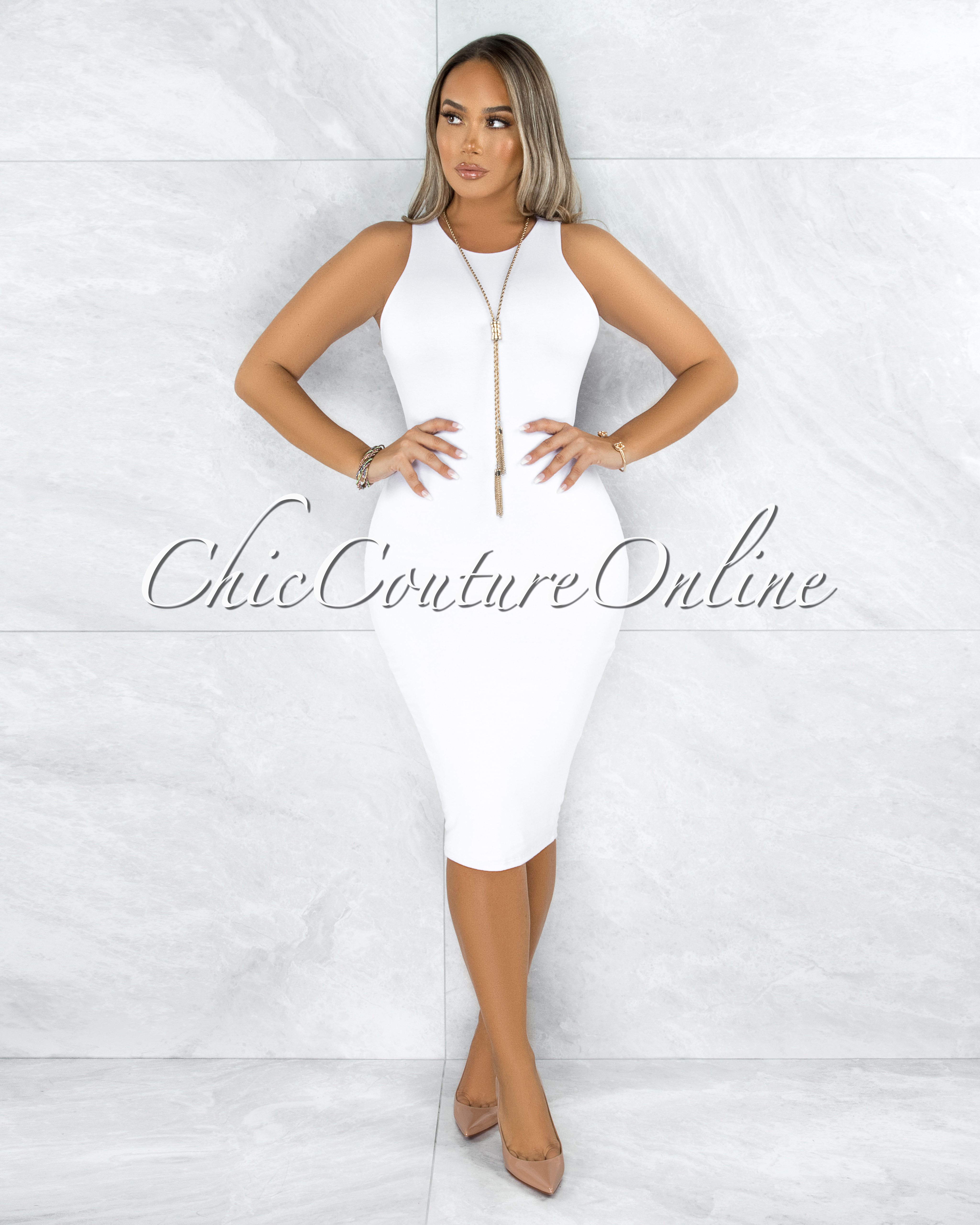 Dalia White Essential Body-Con Midi Dress