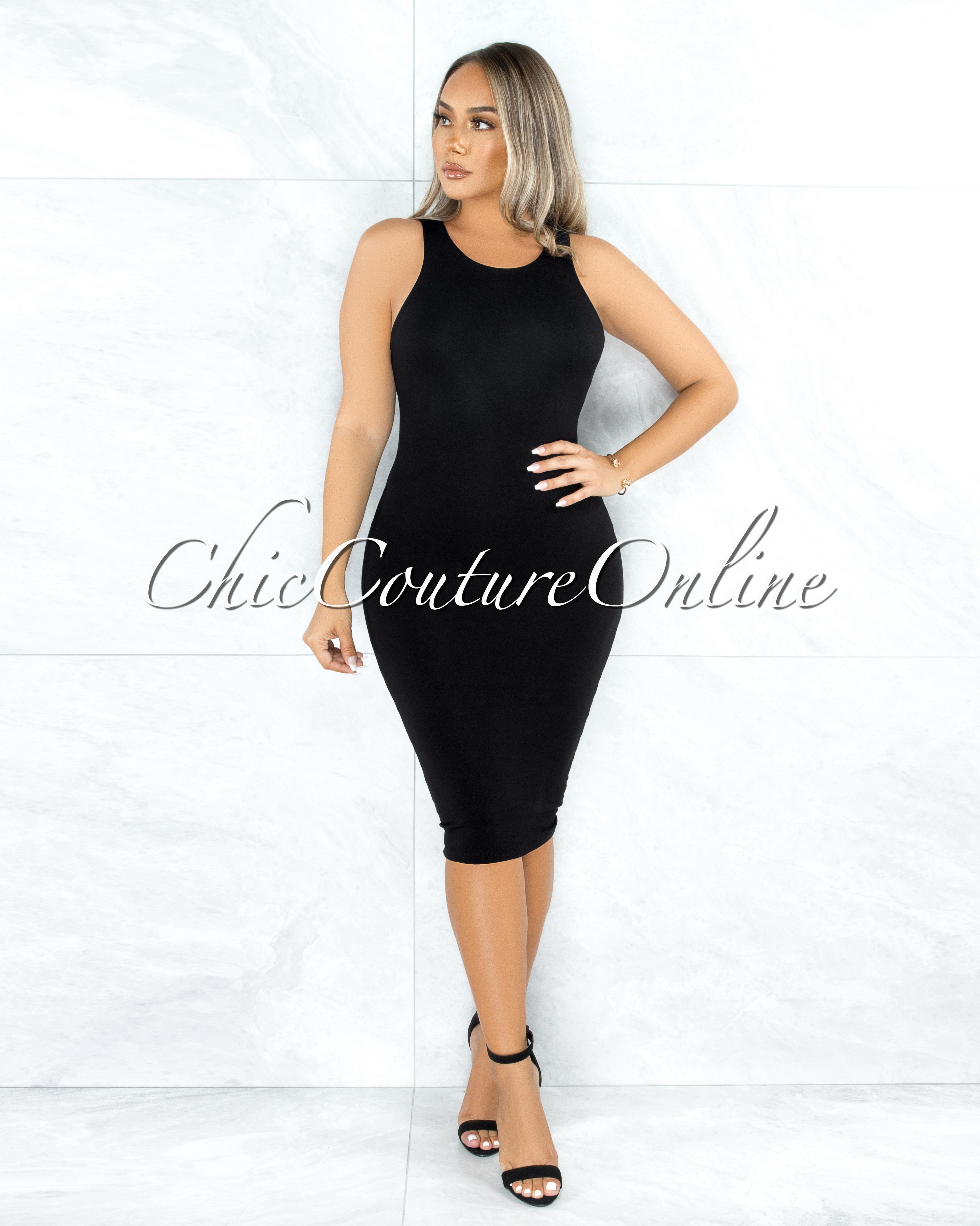 Dalia Black Essential Body-Con Midi Dress