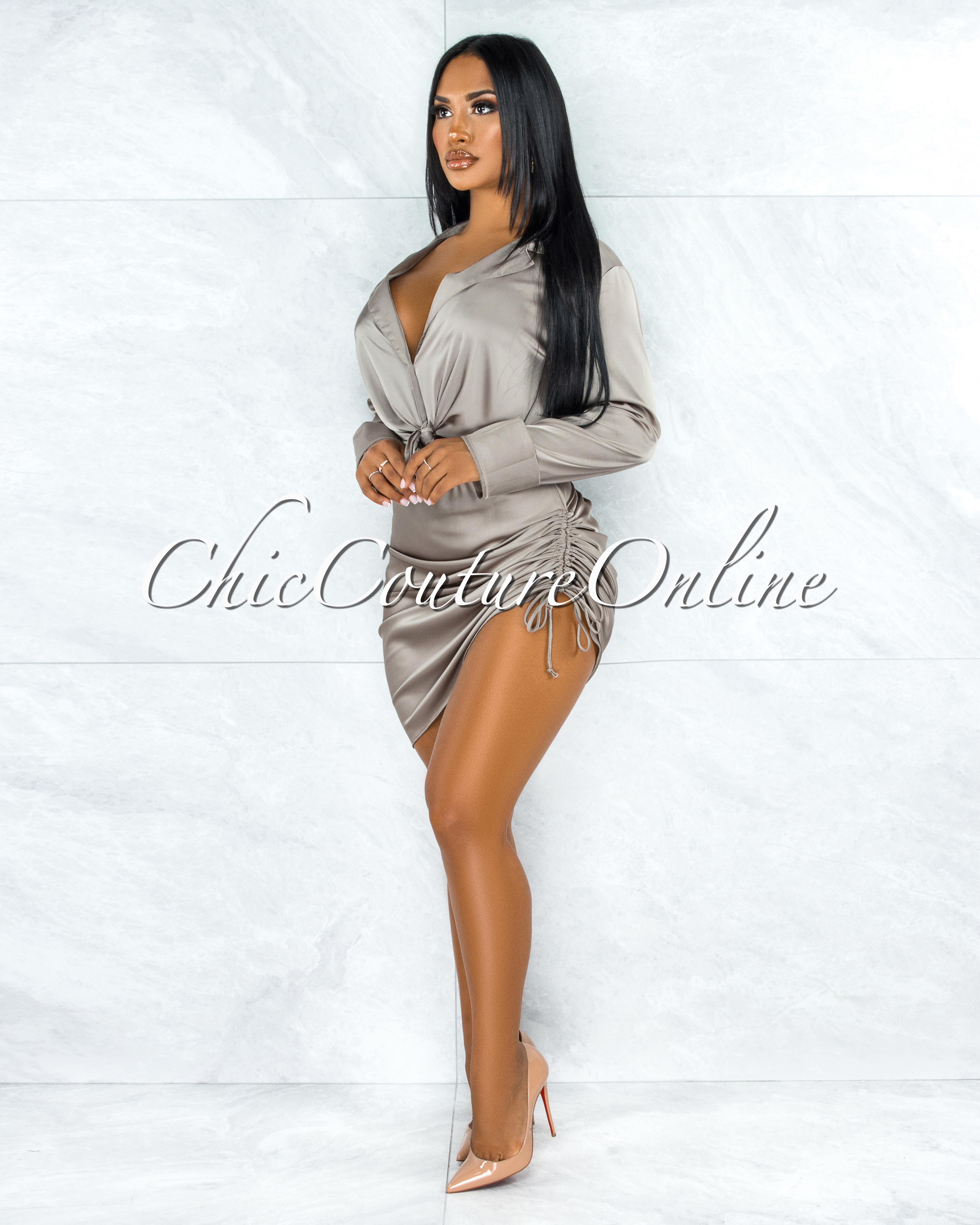 Cherlyn Light Olive Ruched Skirt Satin Set