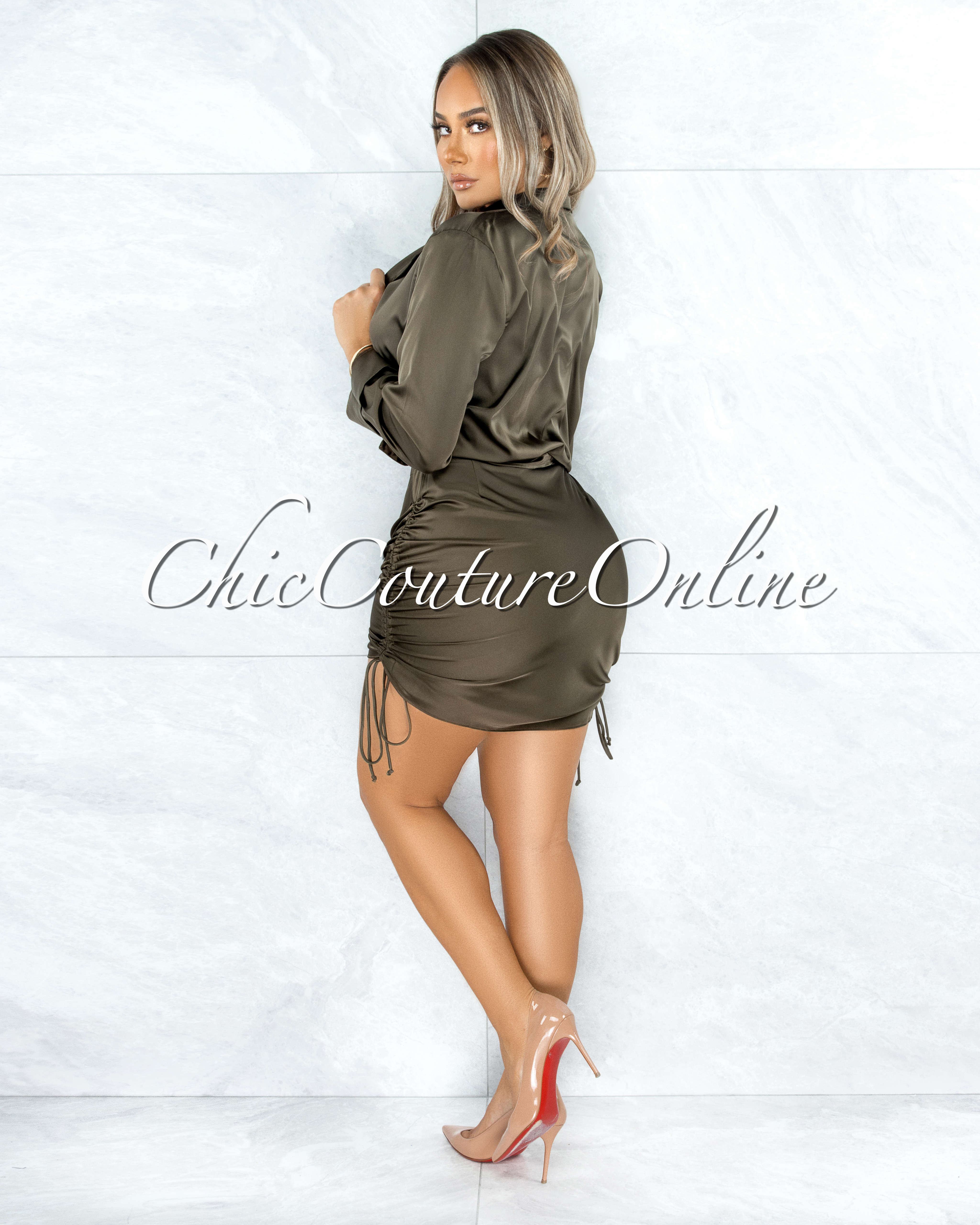 Cherlyn Dark Olive Buttoned Blouse Ruched Skirt Satin Set