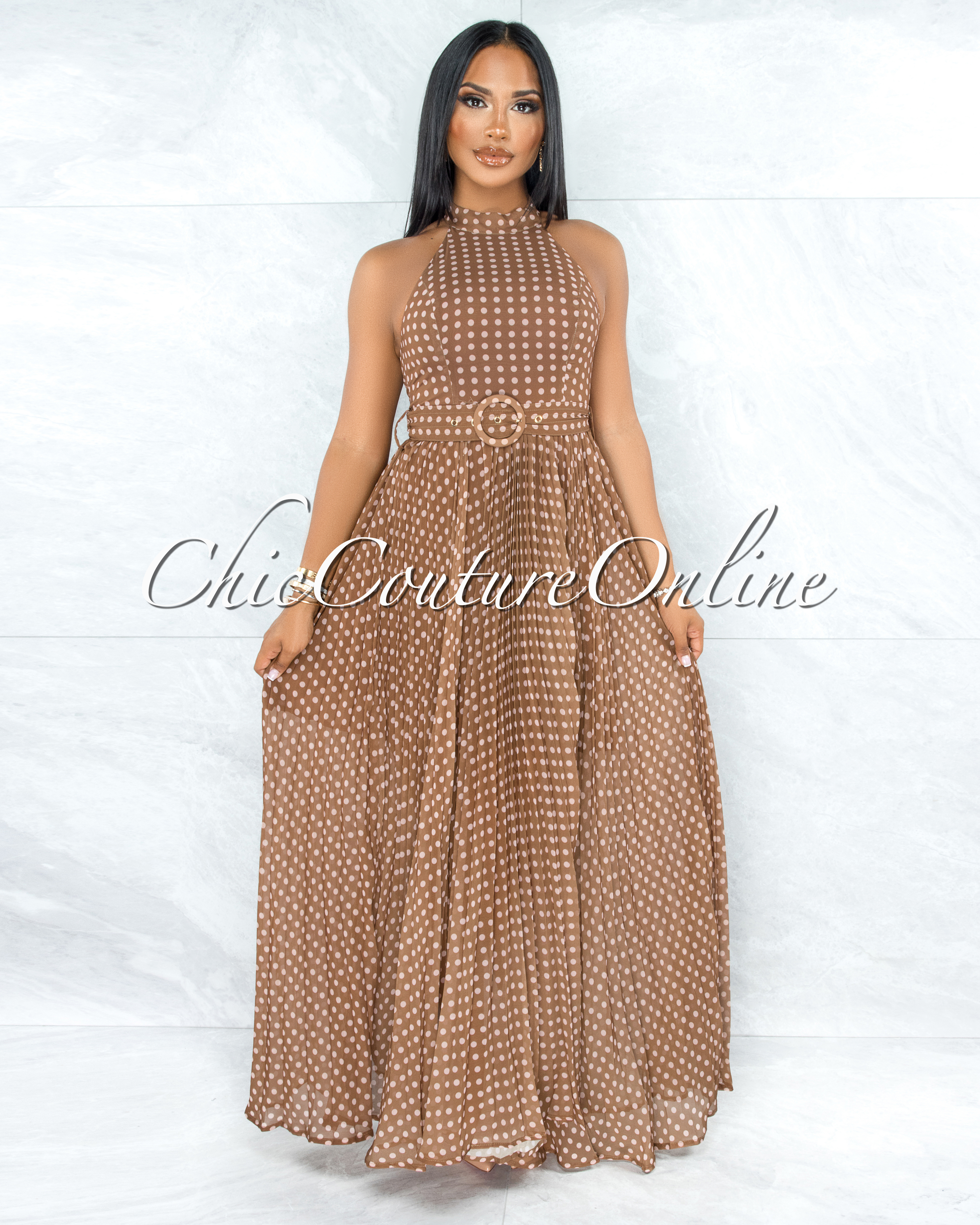 Quella Brown Polka Dots Matching Belt Pleated Maxi Dress